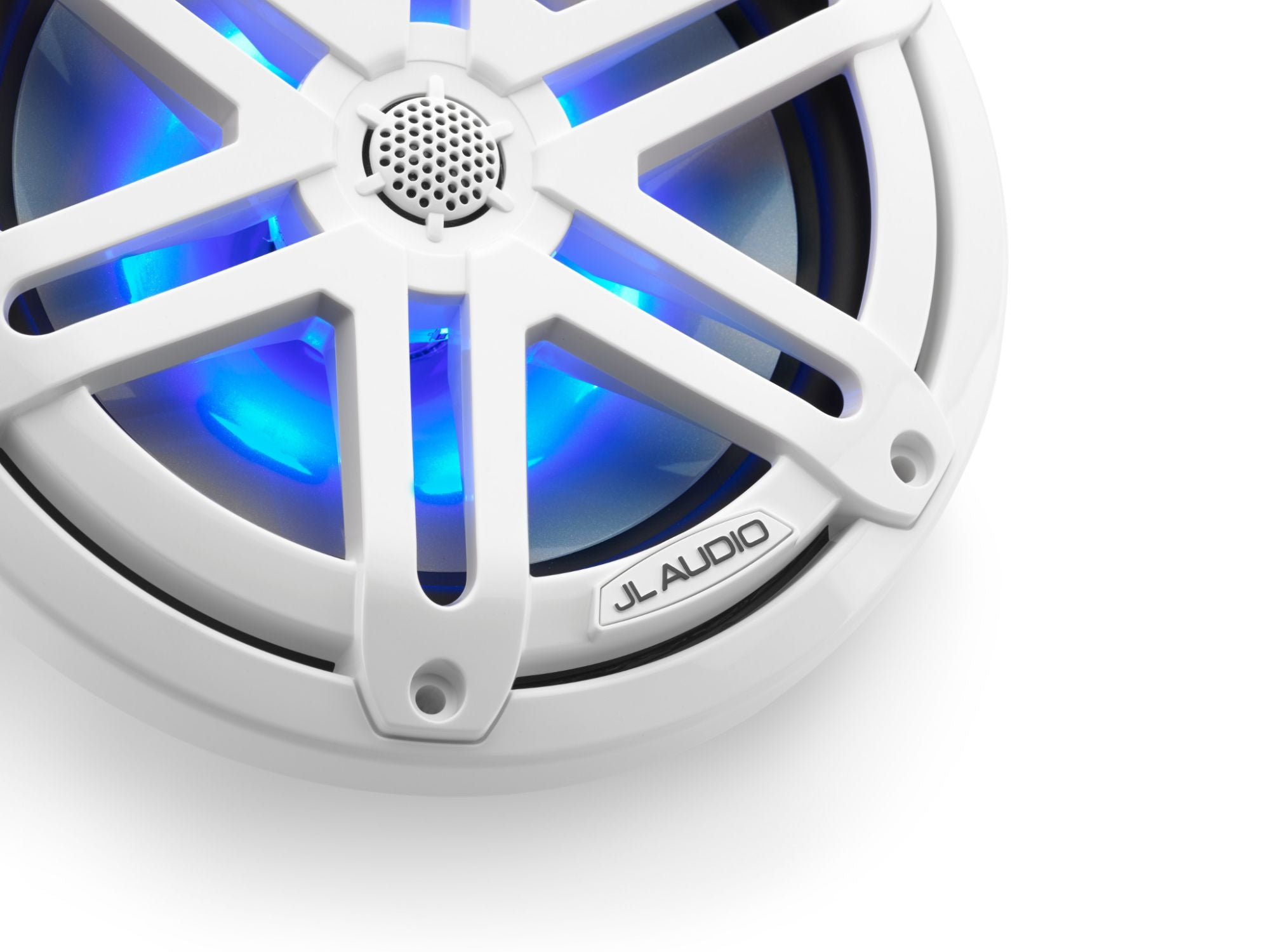 Detail of M3-770X-S-Gw-i Coaxial Speaker Lit with Blue