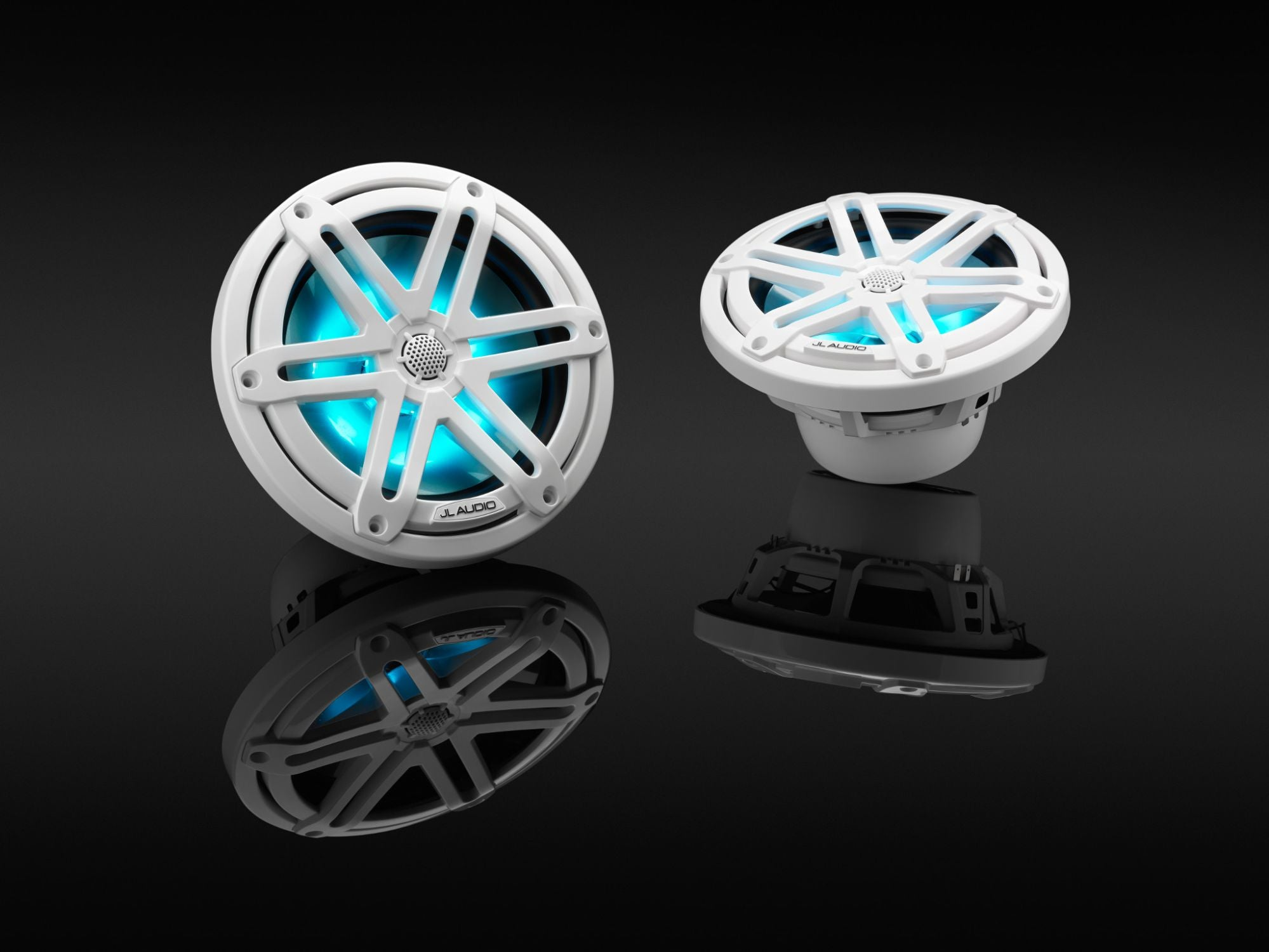 Pair of M3-770X-S-Gw-i Coaxial Speaker on Black, Lit Blue