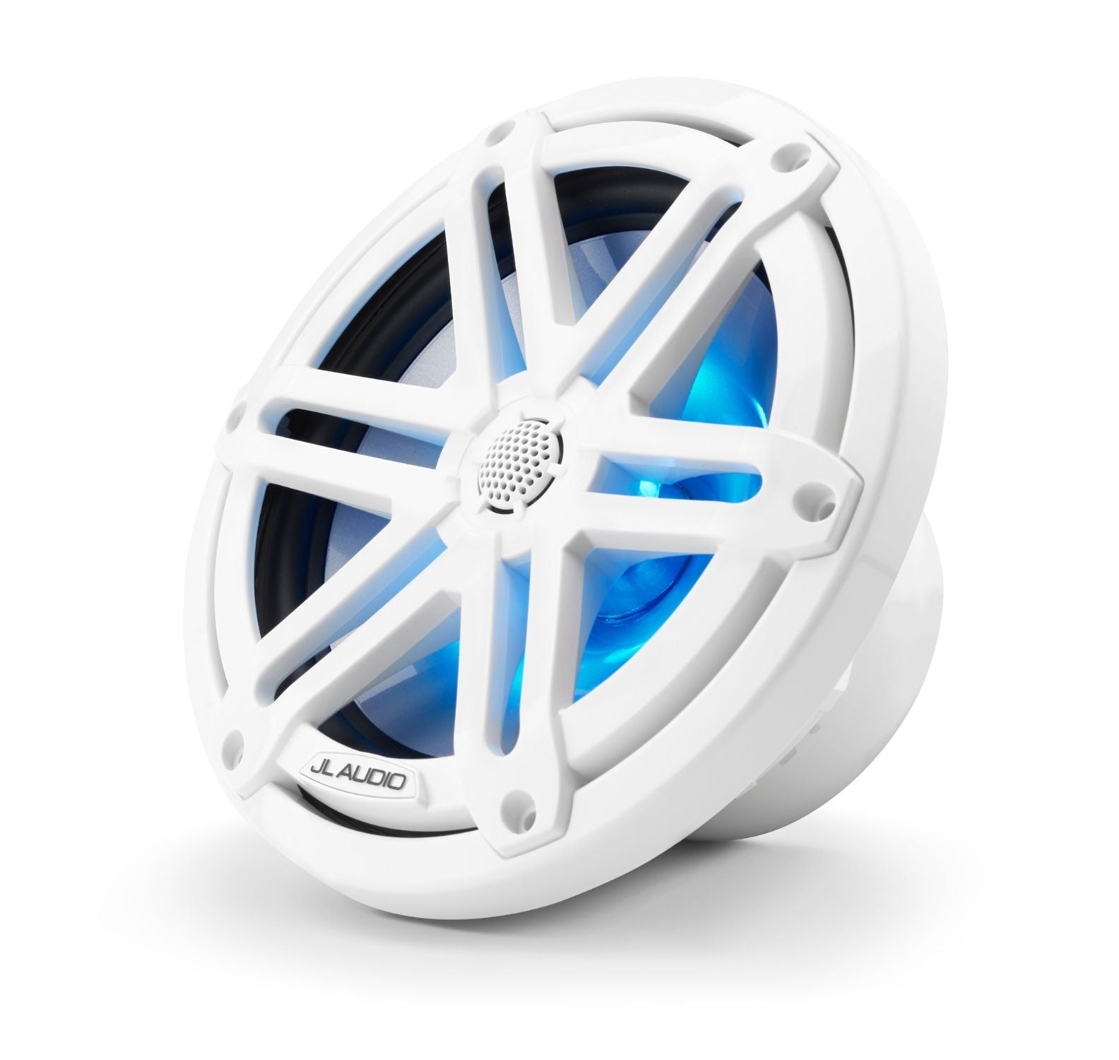 Front of M3-770X-S-Gw-i Coaxial Speaker Facing Left Lit with Blue