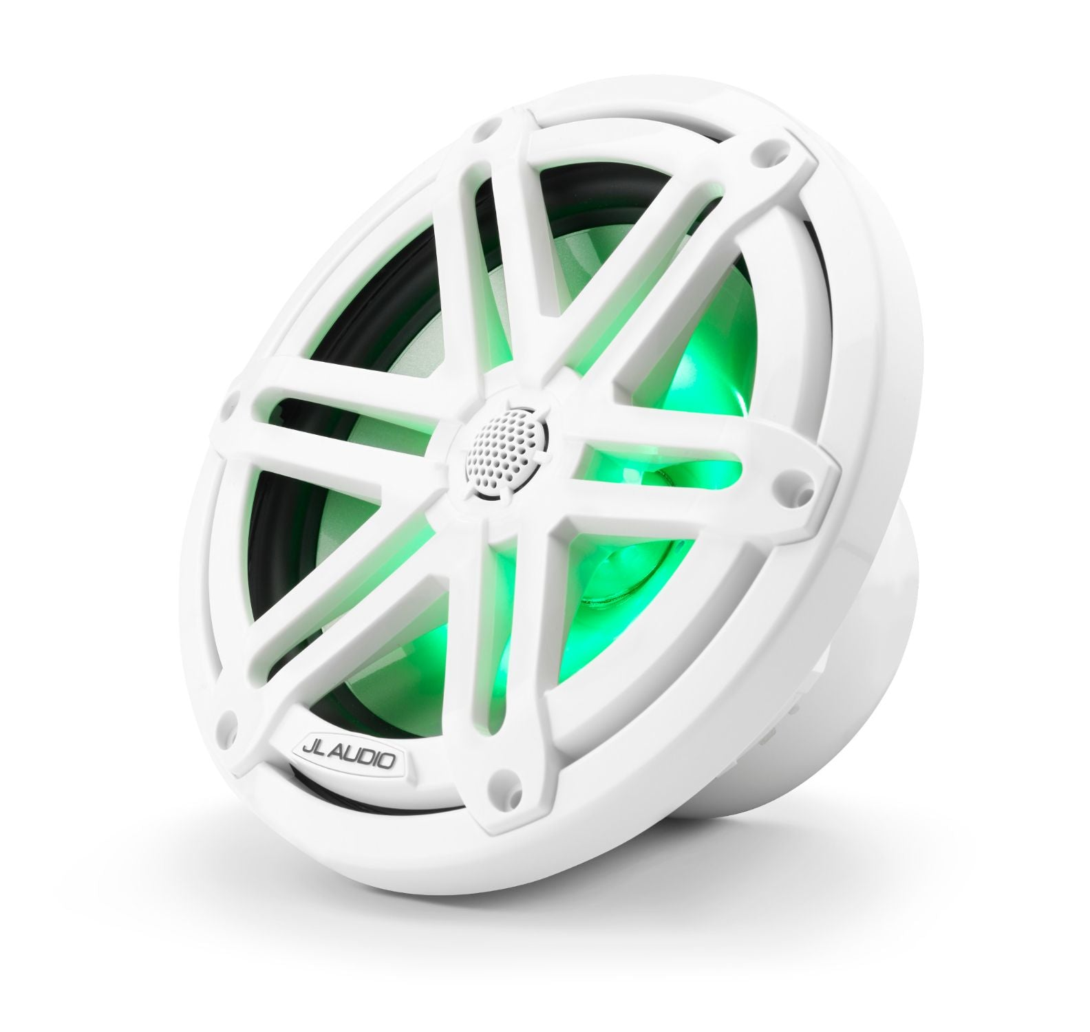 Front of M3-770X-S-Gw-i Coaxial Speaker Facing Left Lit with Green