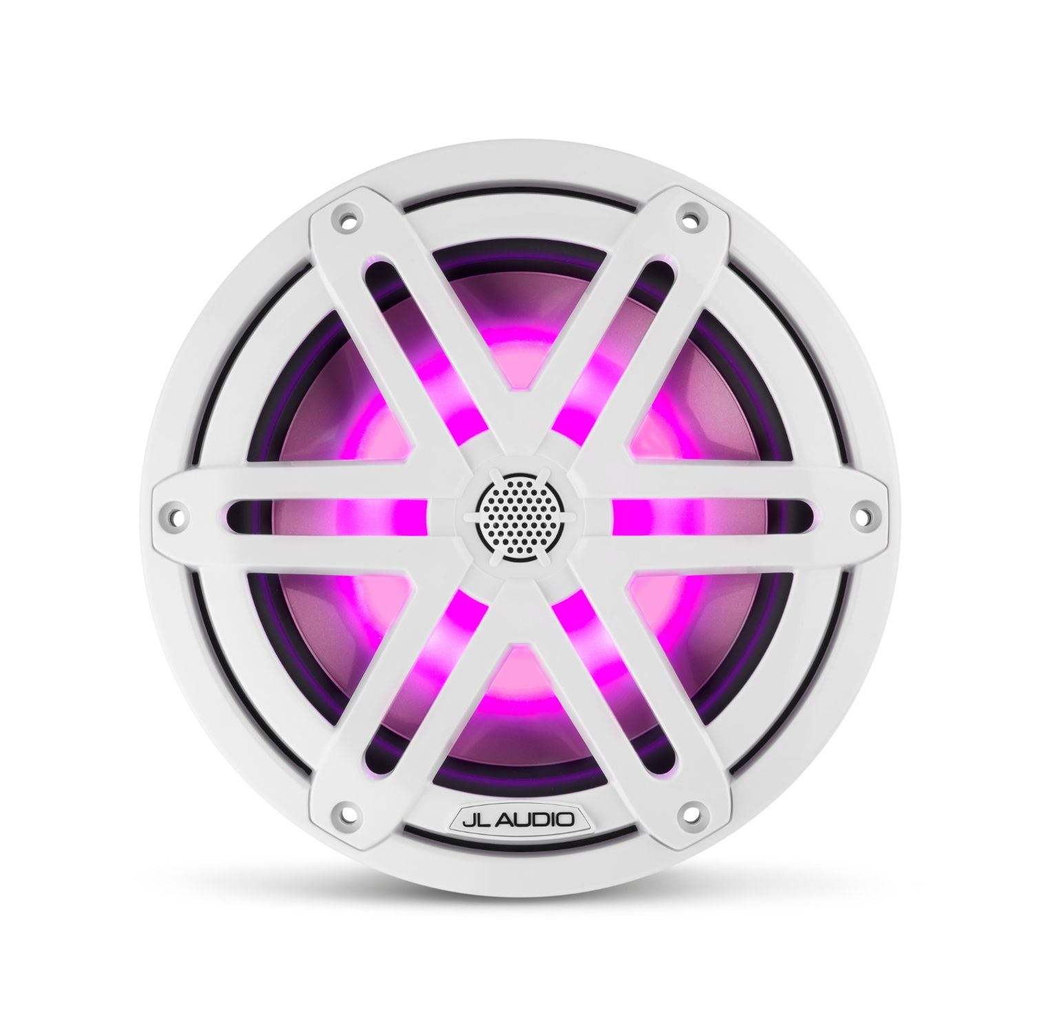 Front Overhead of M3-770X-S-Gw-i Coaxial Speaker Lit with Pink