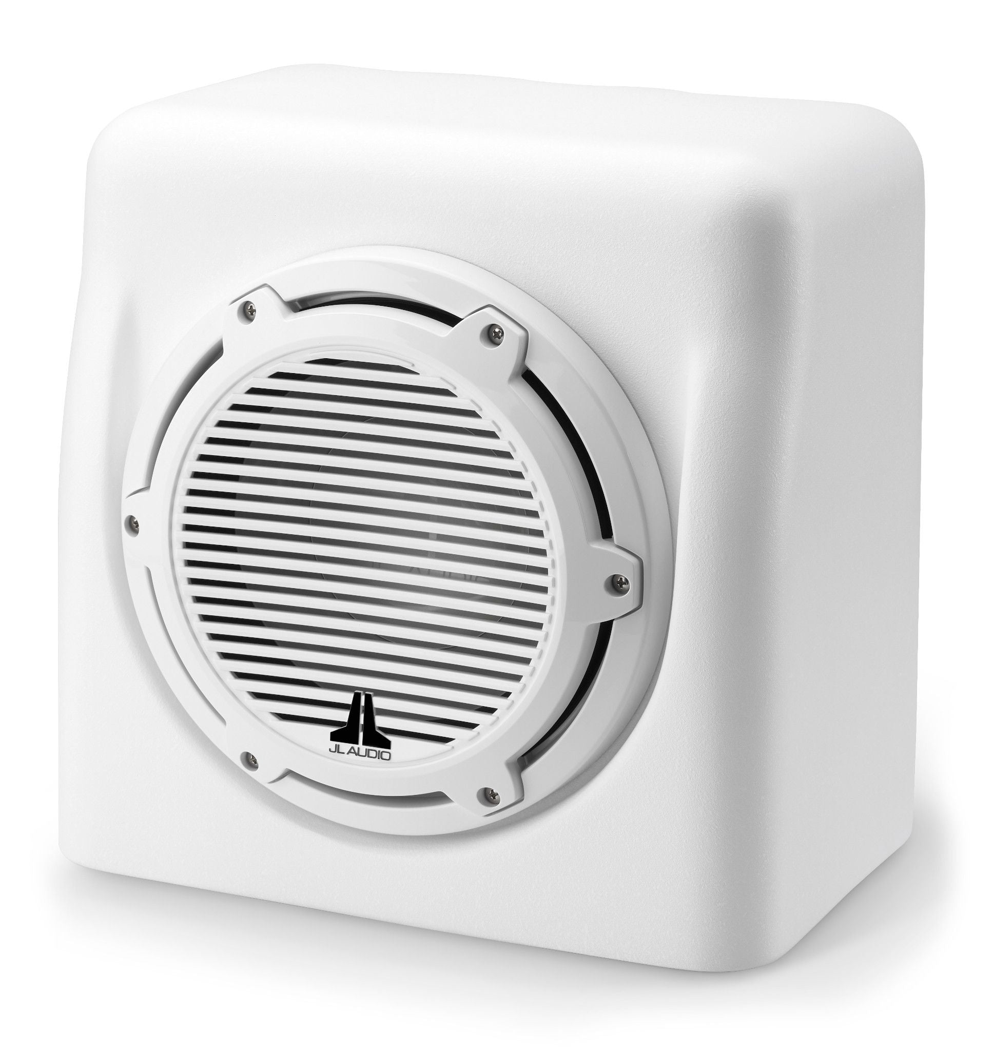 Front of M6-10FES-Mw-C-GwGw-4 Enclosed Subwoofer Facing Left