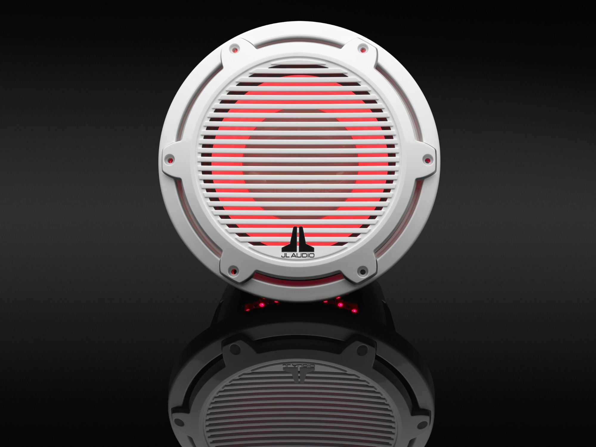 Detail of M6-10IB-C-GwGw-i-4 Subwoofer Lit with Red