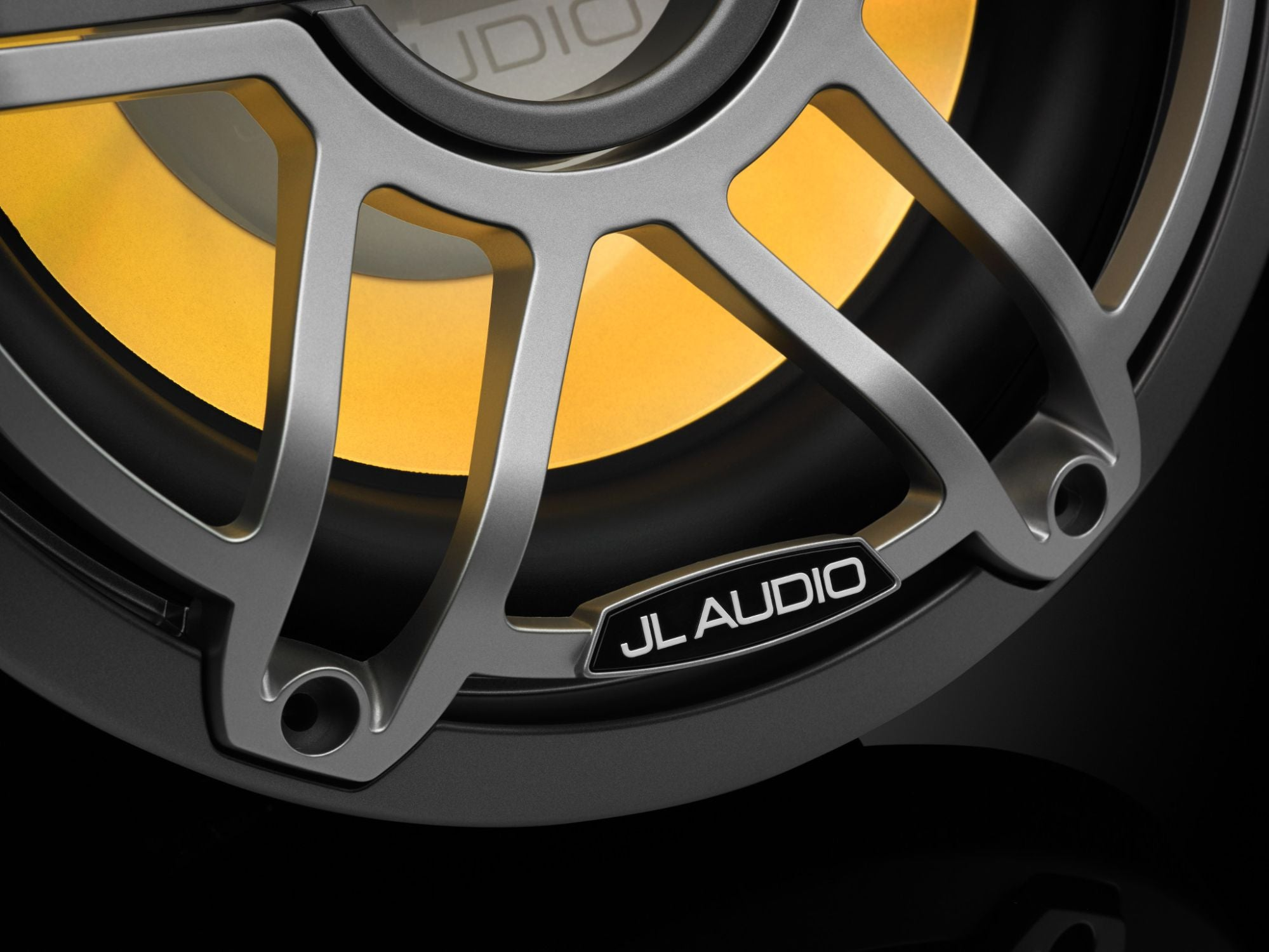 Detail of M6-10IB-S-GmTi-i-4 Subwoofer Lit with Yellow