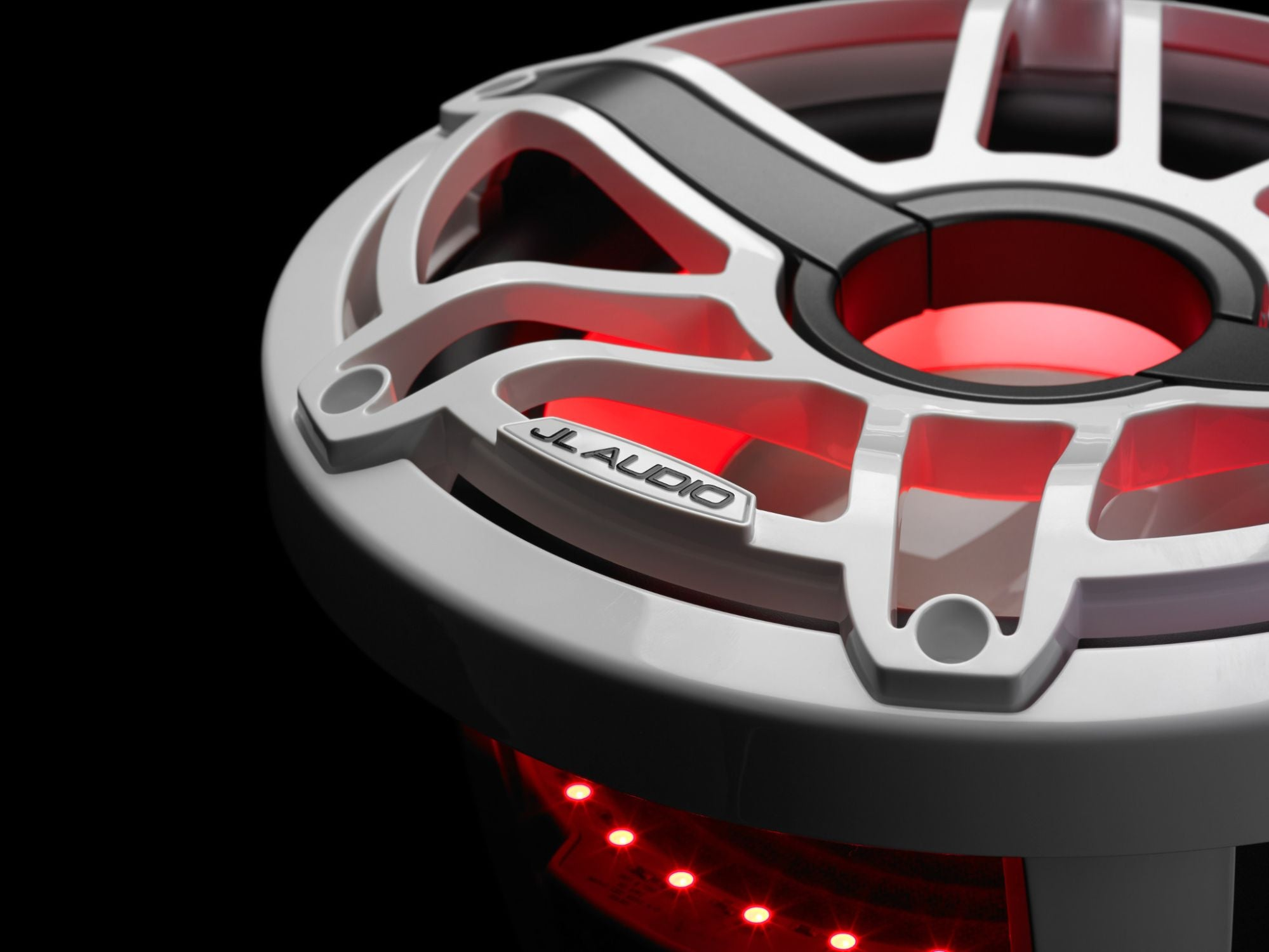 Detail of M6-10IB-S-GwGw-i-4 Subwoofer Lit with Red