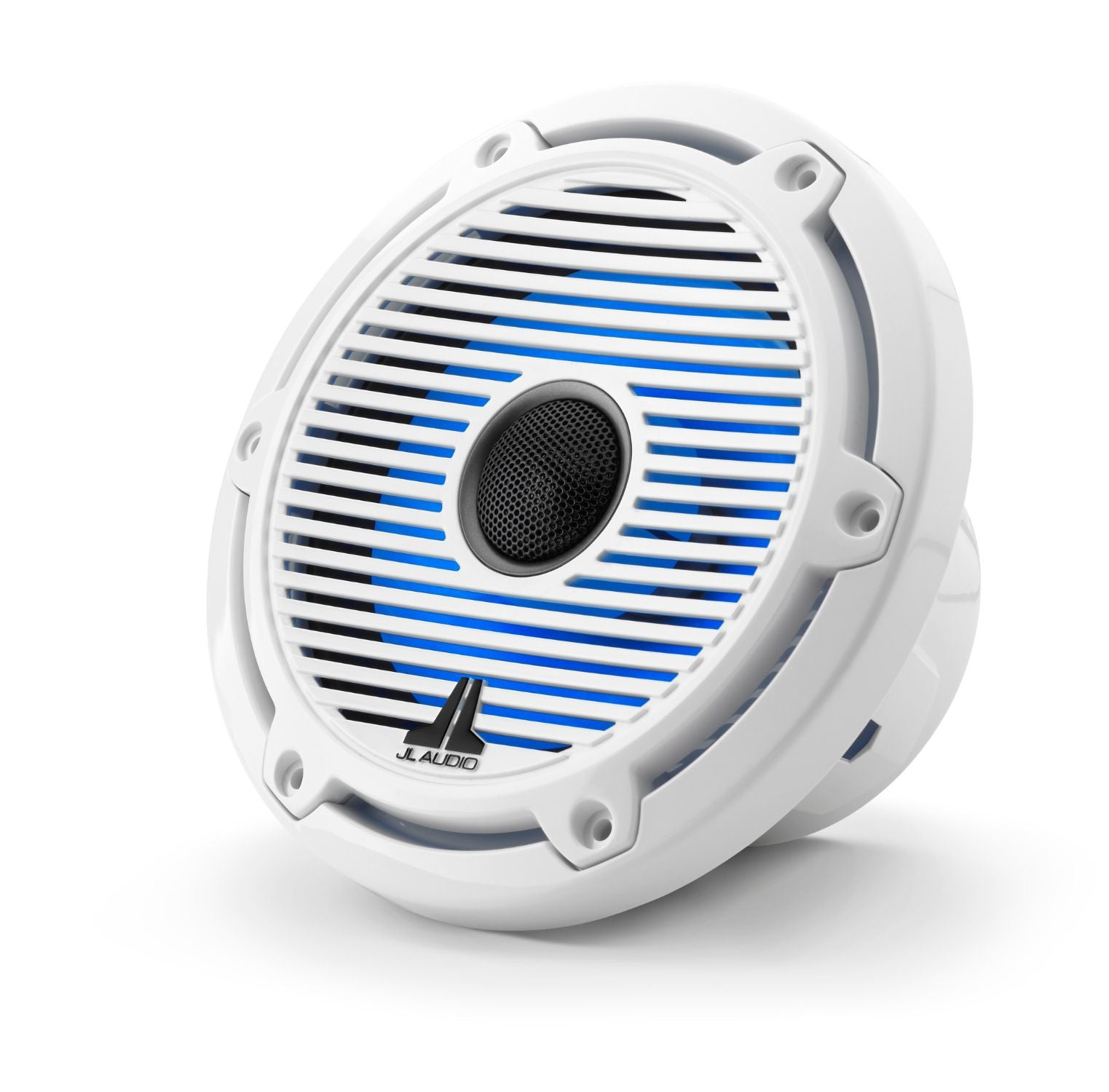 Front of M6-650X-C-GwGw-i Coaxial Speaker Facing Left Lit with Blue