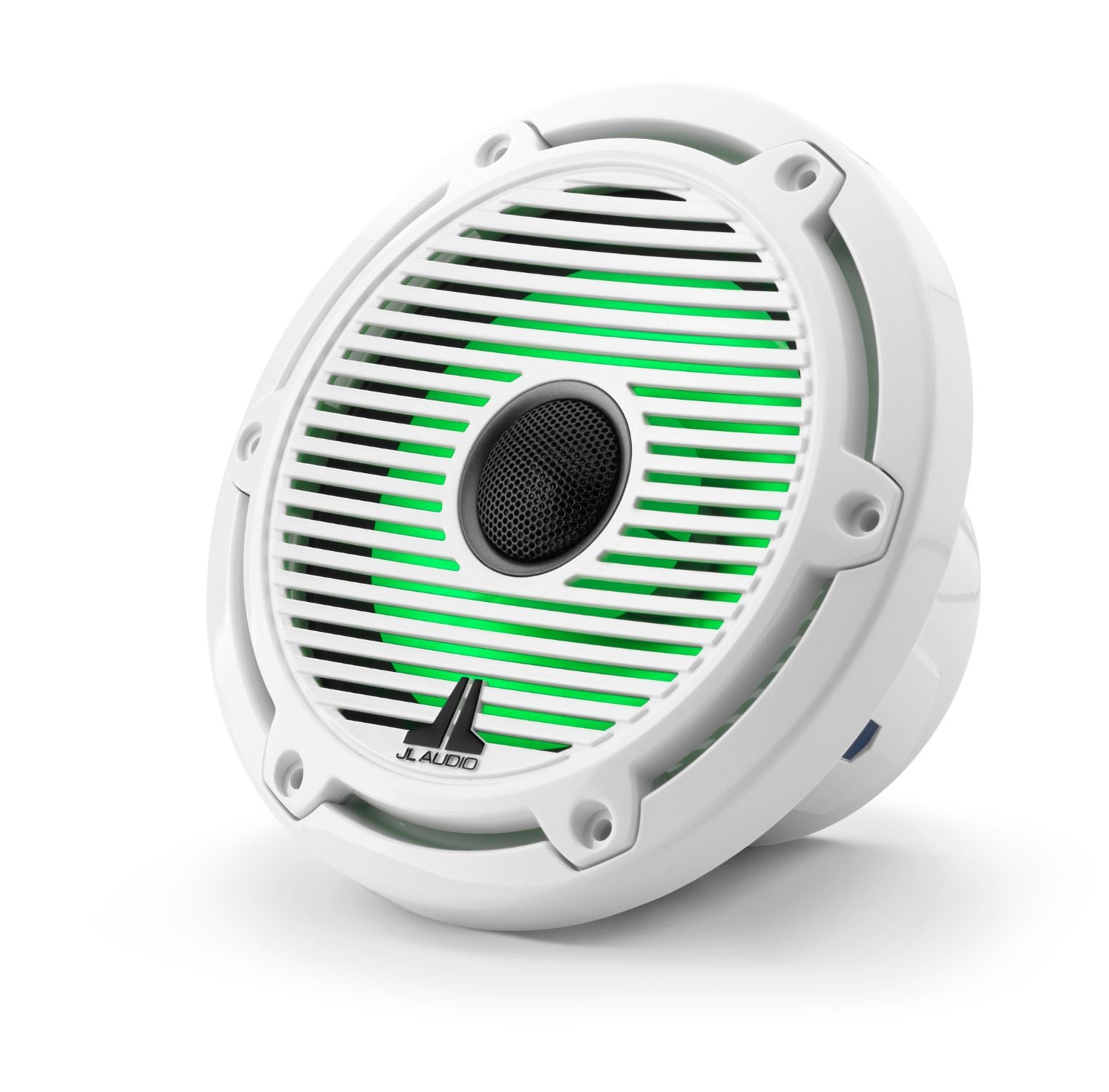 Front of M6-650X-C-GwGw-i Coaxial Speaker Facing Left Lit with Green