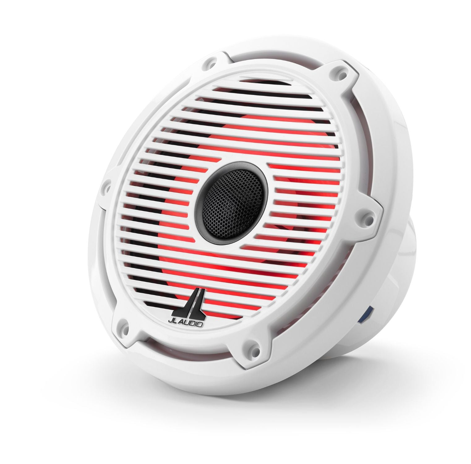 Front of M6-650X-C-GwGw-i Coaxial Speaker Facing Left Lit with Red