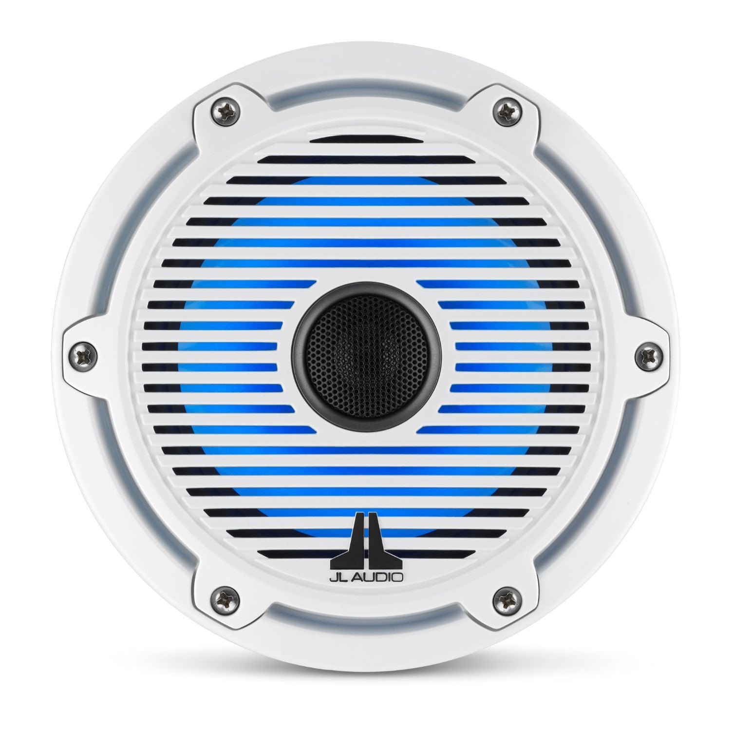 Front Overhead of M6-650X-C-GwGw-i Coaxial Speaker Lit with Blue