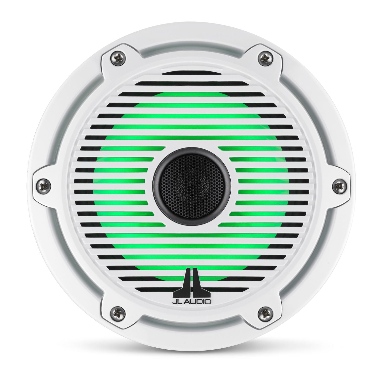 Front Overhead of M6-650X-C-GwGw-i Coaxial Speaker Lit with Green