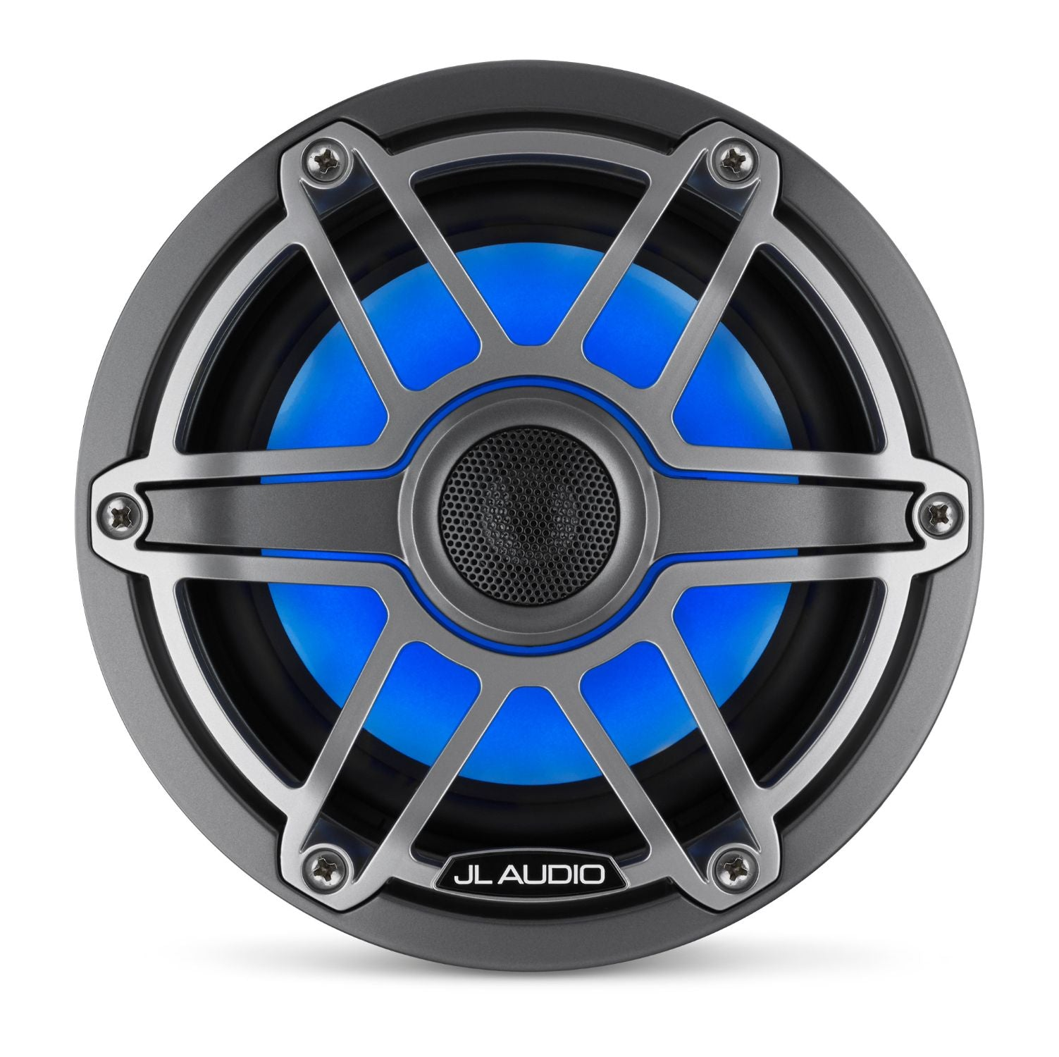 Front Overhead of M6-650X-S-GmTi-i Coaxial Speaker Lit with Blue