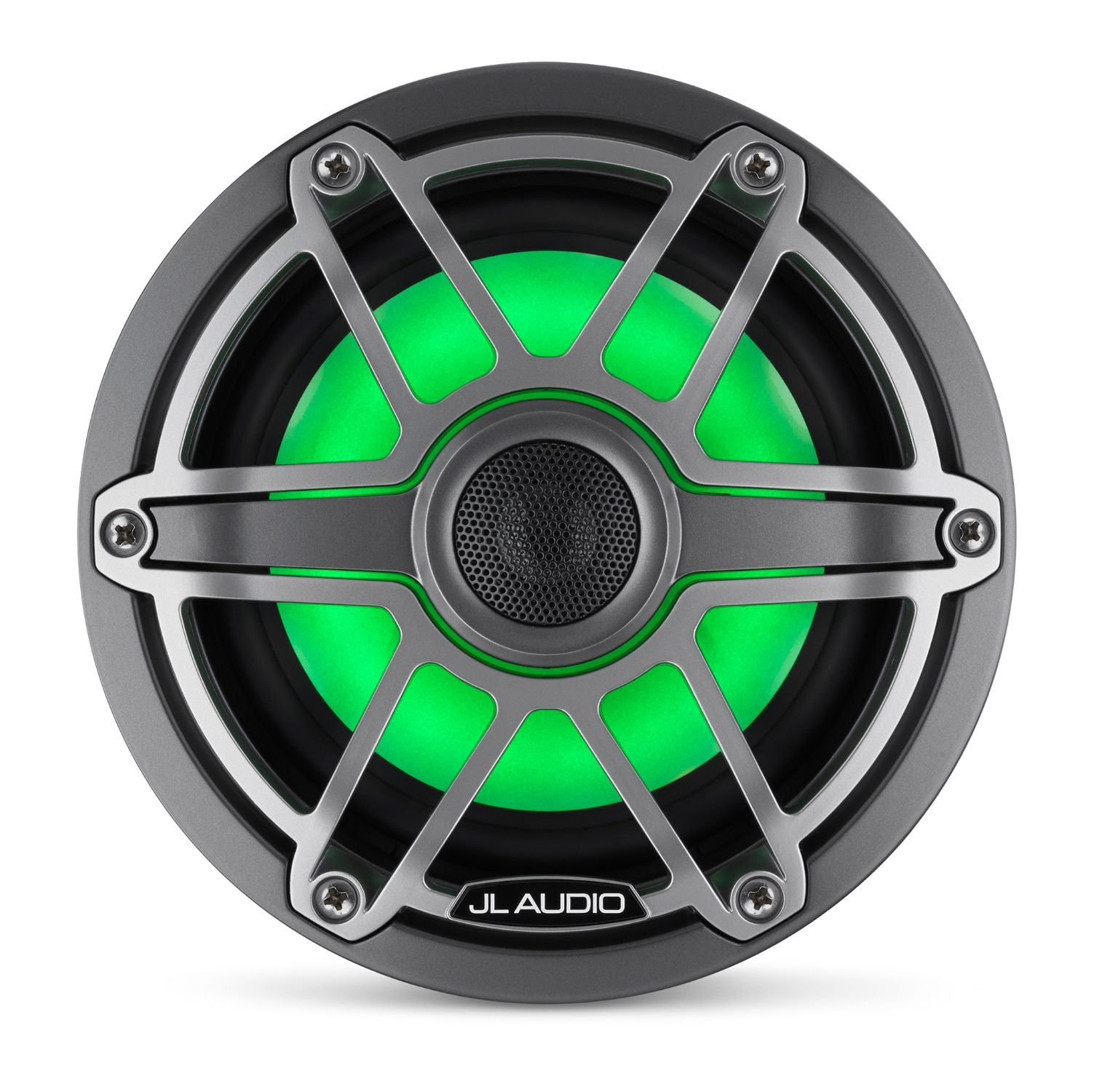 Front Overhead of M6-650X-S-GmTi-i Coaxial Speaker Lit with Green