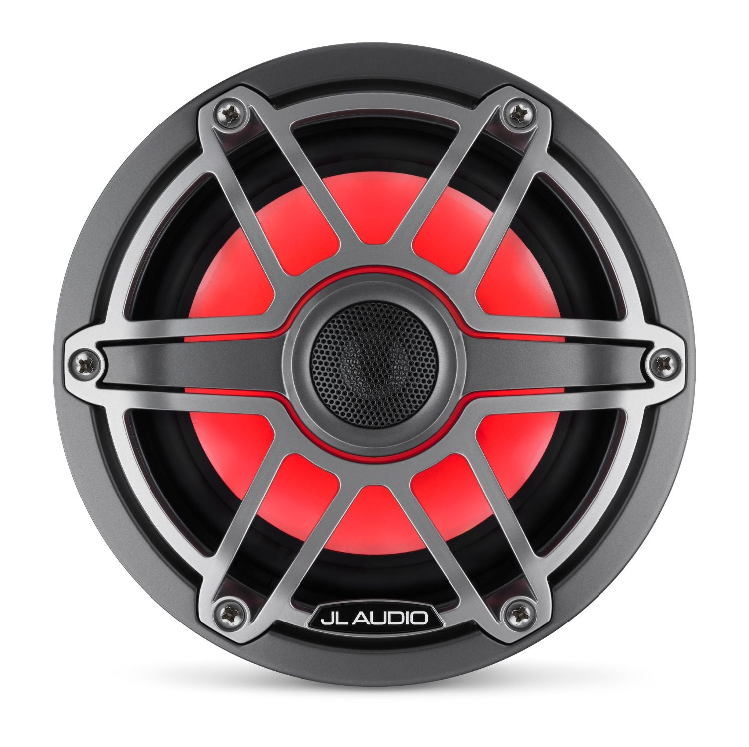 Front Overhead M6-650X-S-GmTi-i Coaxial Speaker Lit with Red