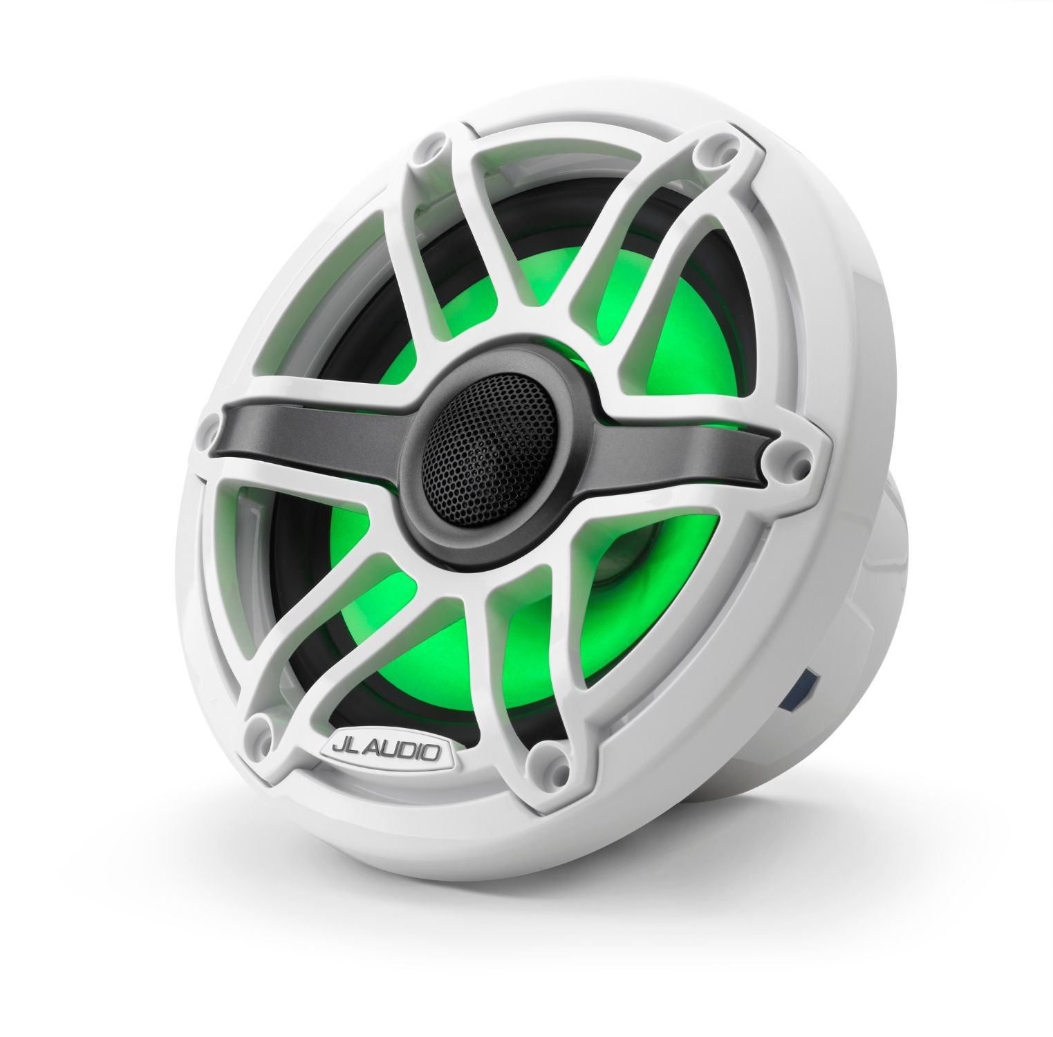 Front of M6-650X-S-GwGw-i Coaxial Speaker Facing Left Lit with Green