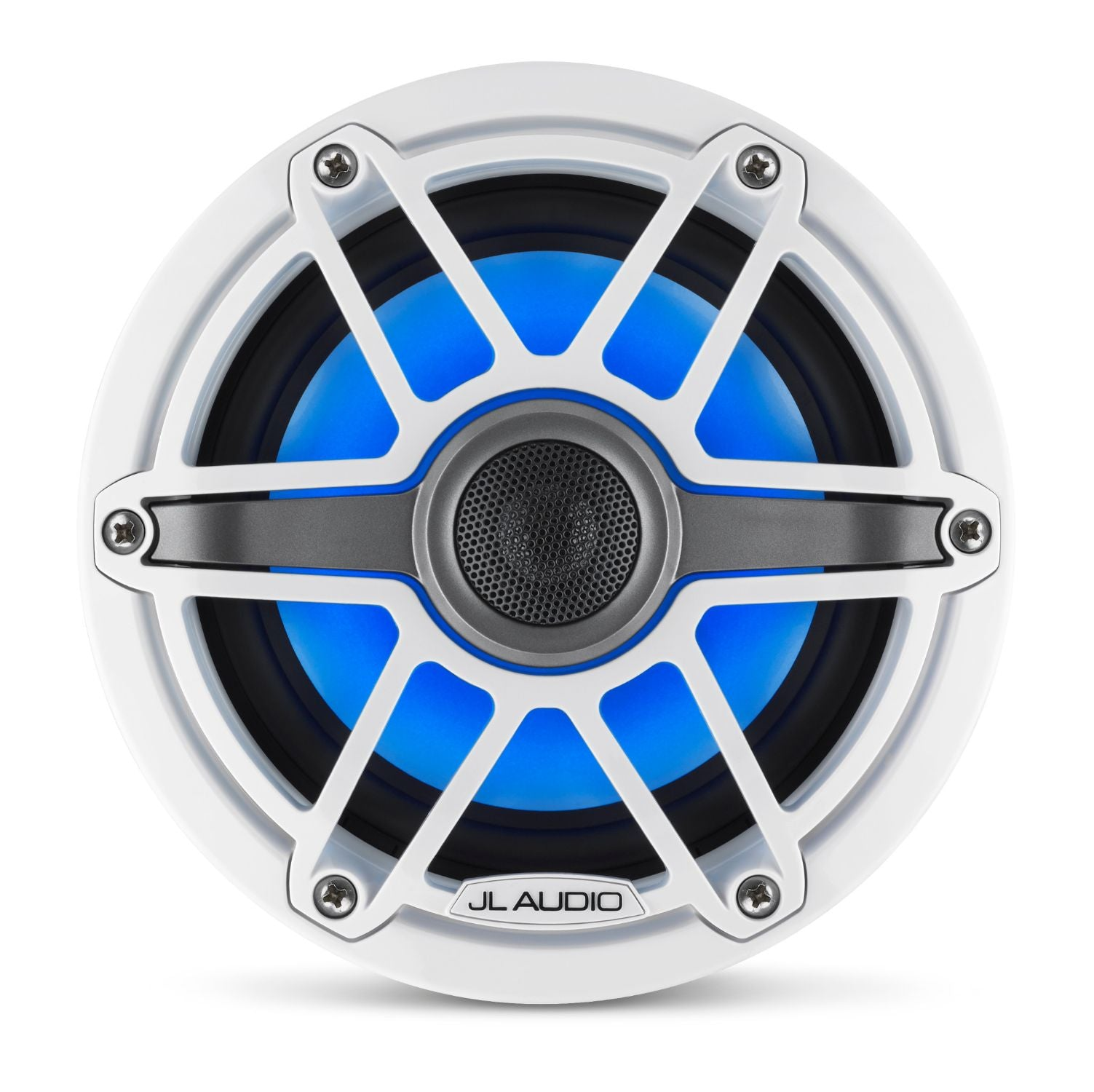 Front Overhead of M6-650X-S-GwGw-i Coaxial Speaker Lit with Blue