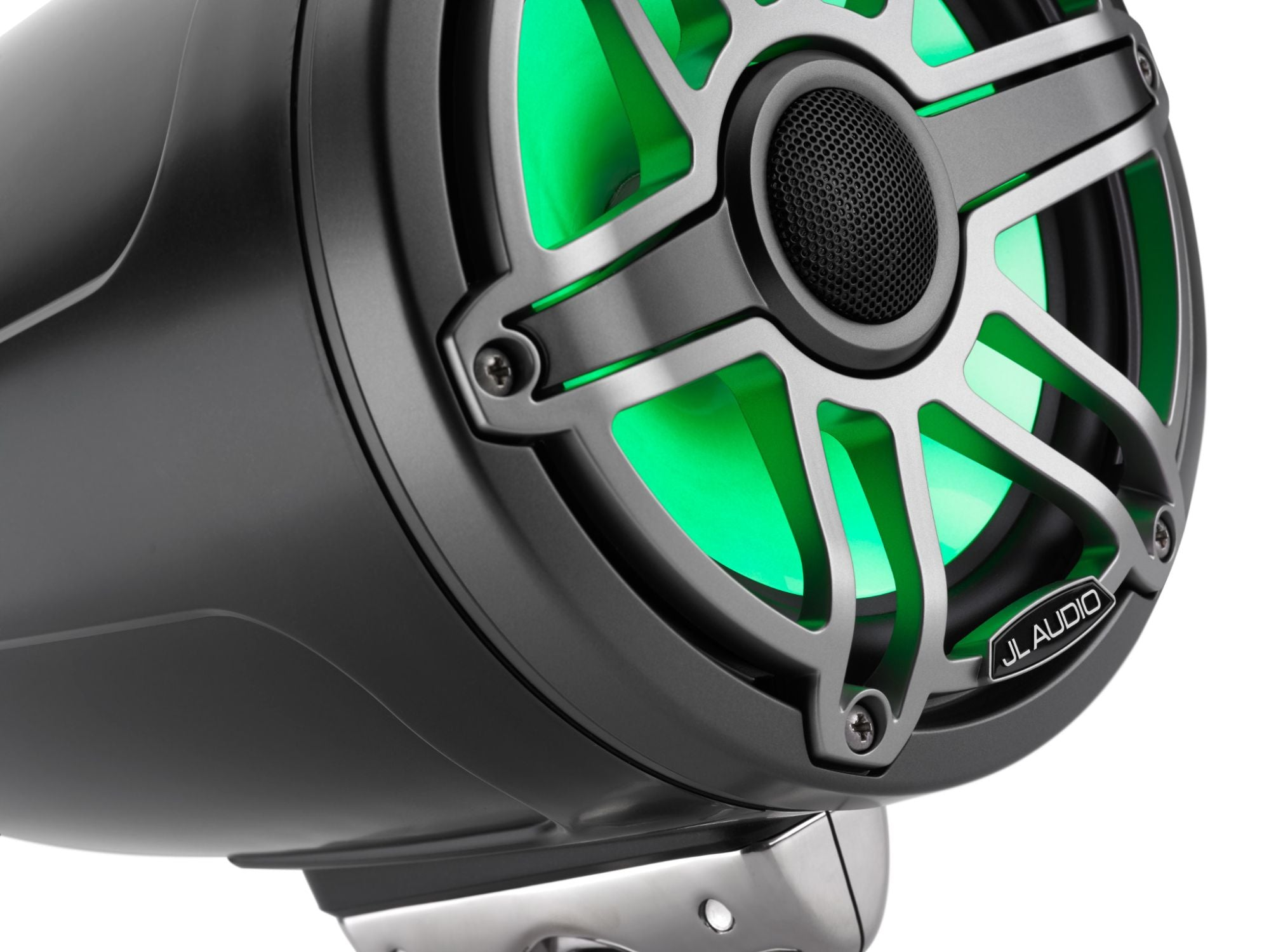 Detail of M6-770ETXv3-Sb-S-GmTi-i Enclosed Speaker Lit with Green