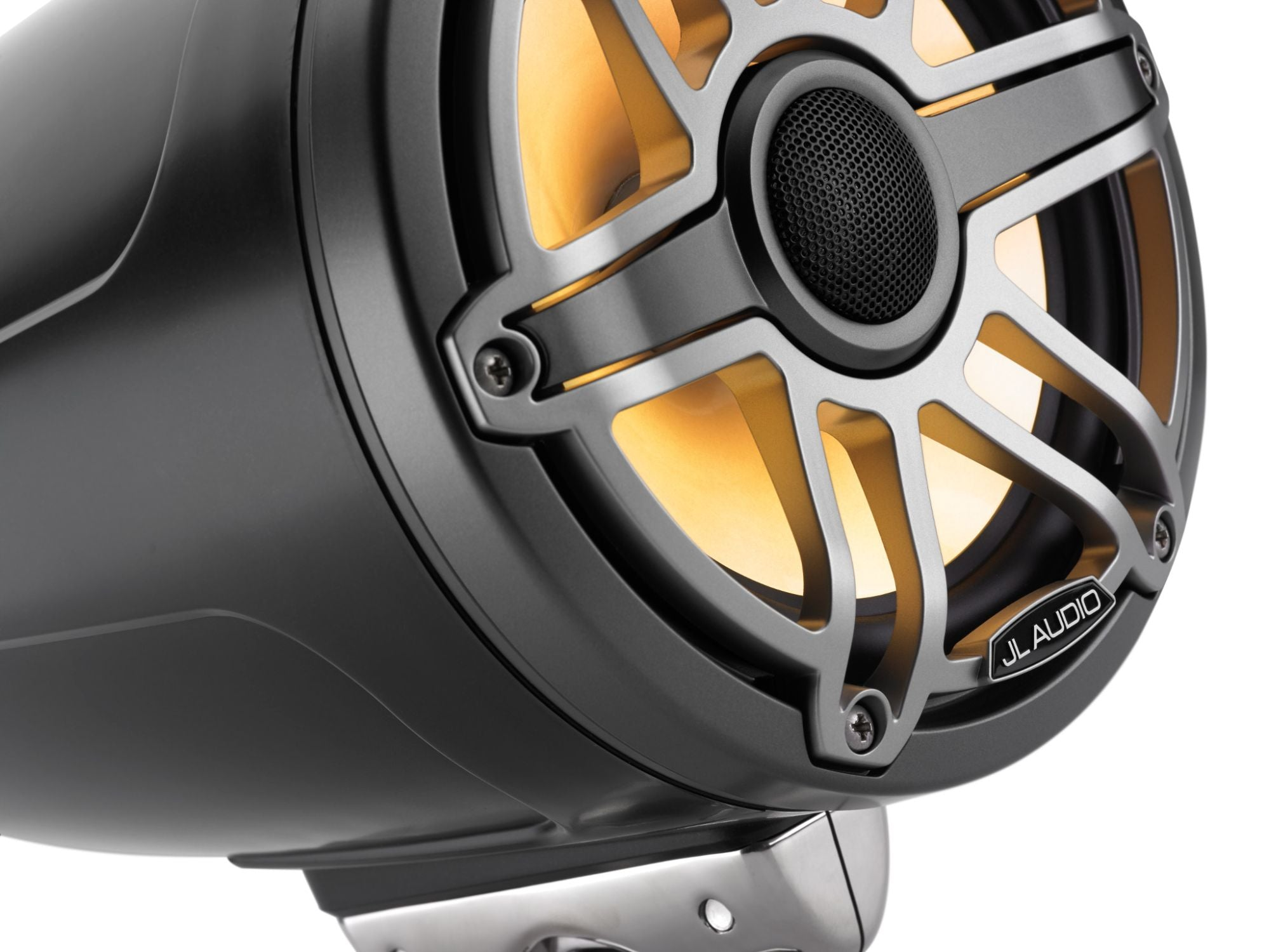 Detail of M6-770ETXv3-Sb-S-GmTi-i Enclosed Speaker Lit with Yellow