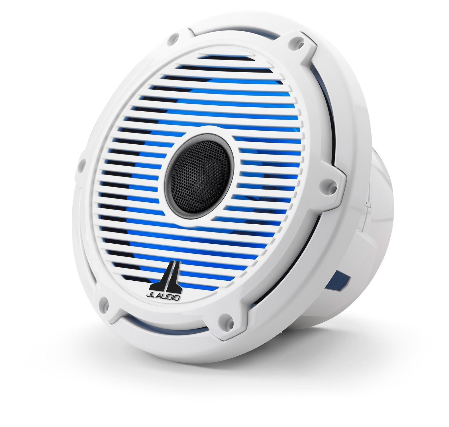 Front of M6-770X-C-GwGw-i Coaxial Speaker Facing Left Lit with Blue
