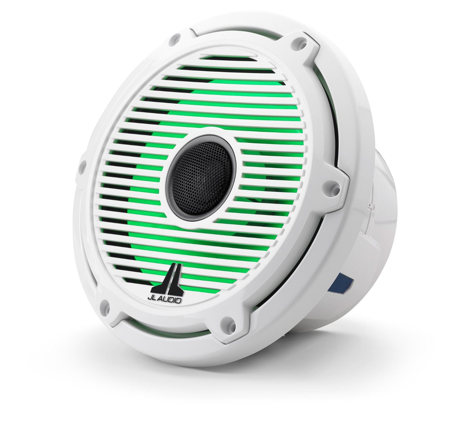 Front of M6-770X-C-GwGw-i Coaxial Speaker Facing Left Lit with Green