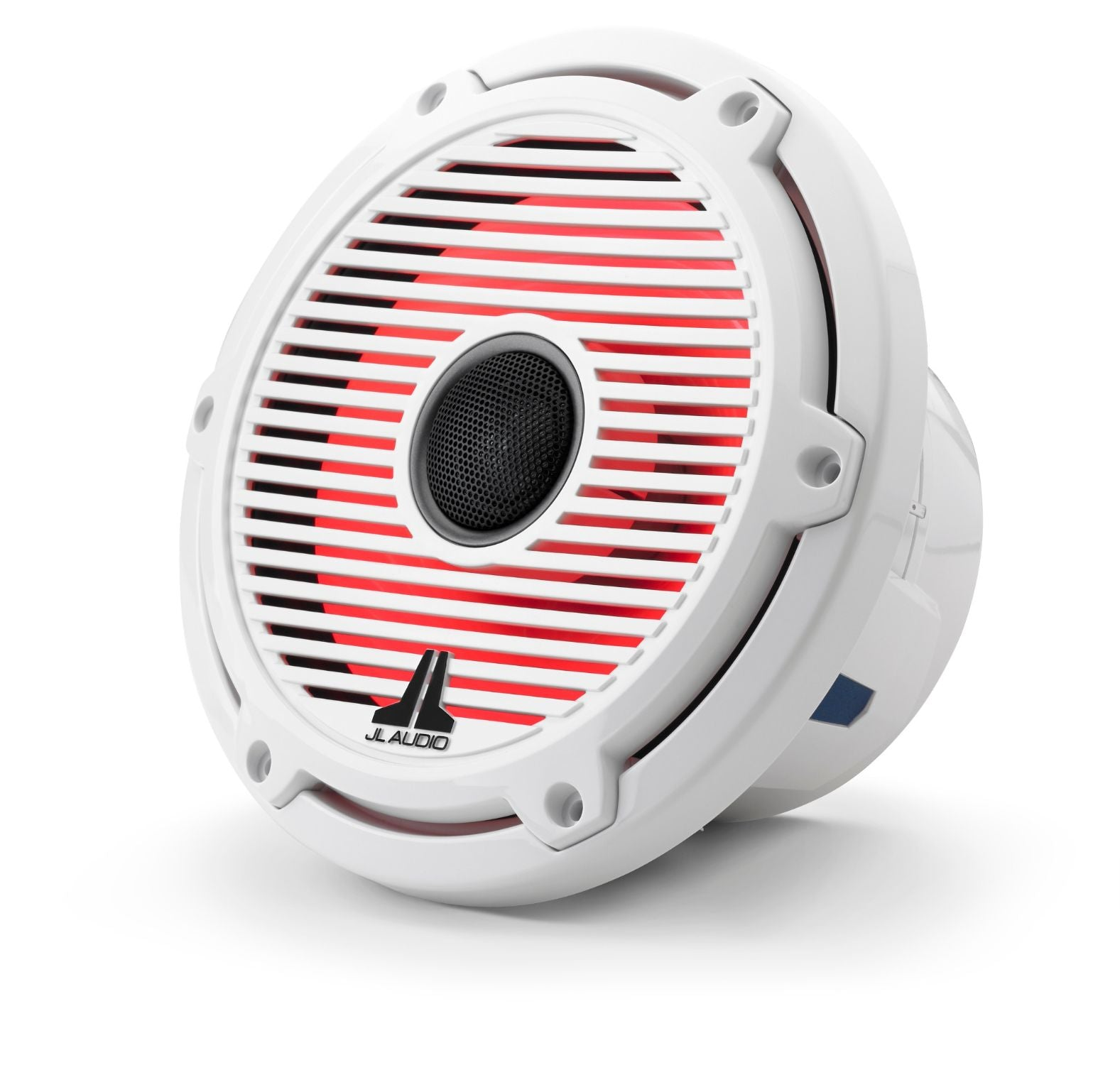 Front of M6-770X-C-GwGw-i Coaxial Speaker Facing Left Lit with Red