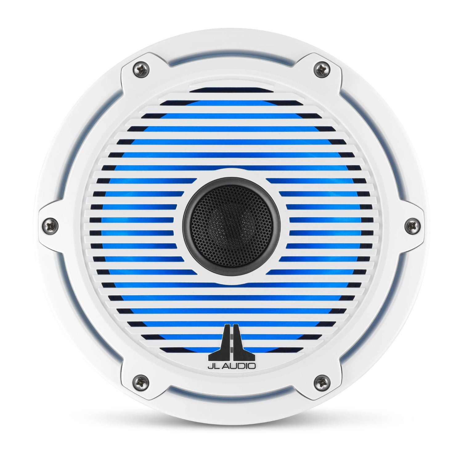 Front Overhead of M6-770X-C-GwGw-i Coaxial Speaker Lit with Blue