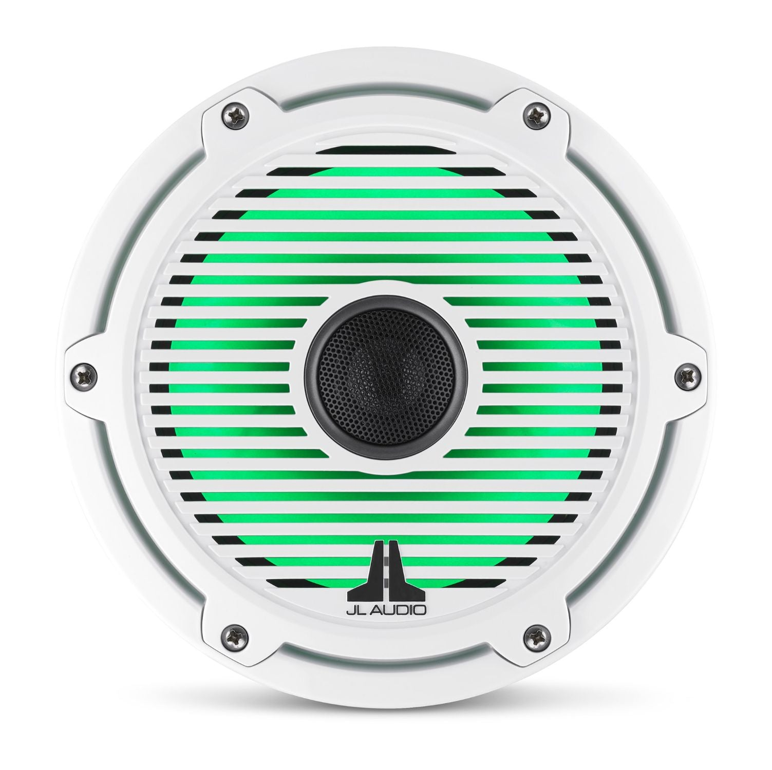Front Overhead of M6-770X-C-GwGw-i Coaxial Speaker Lit with Green
