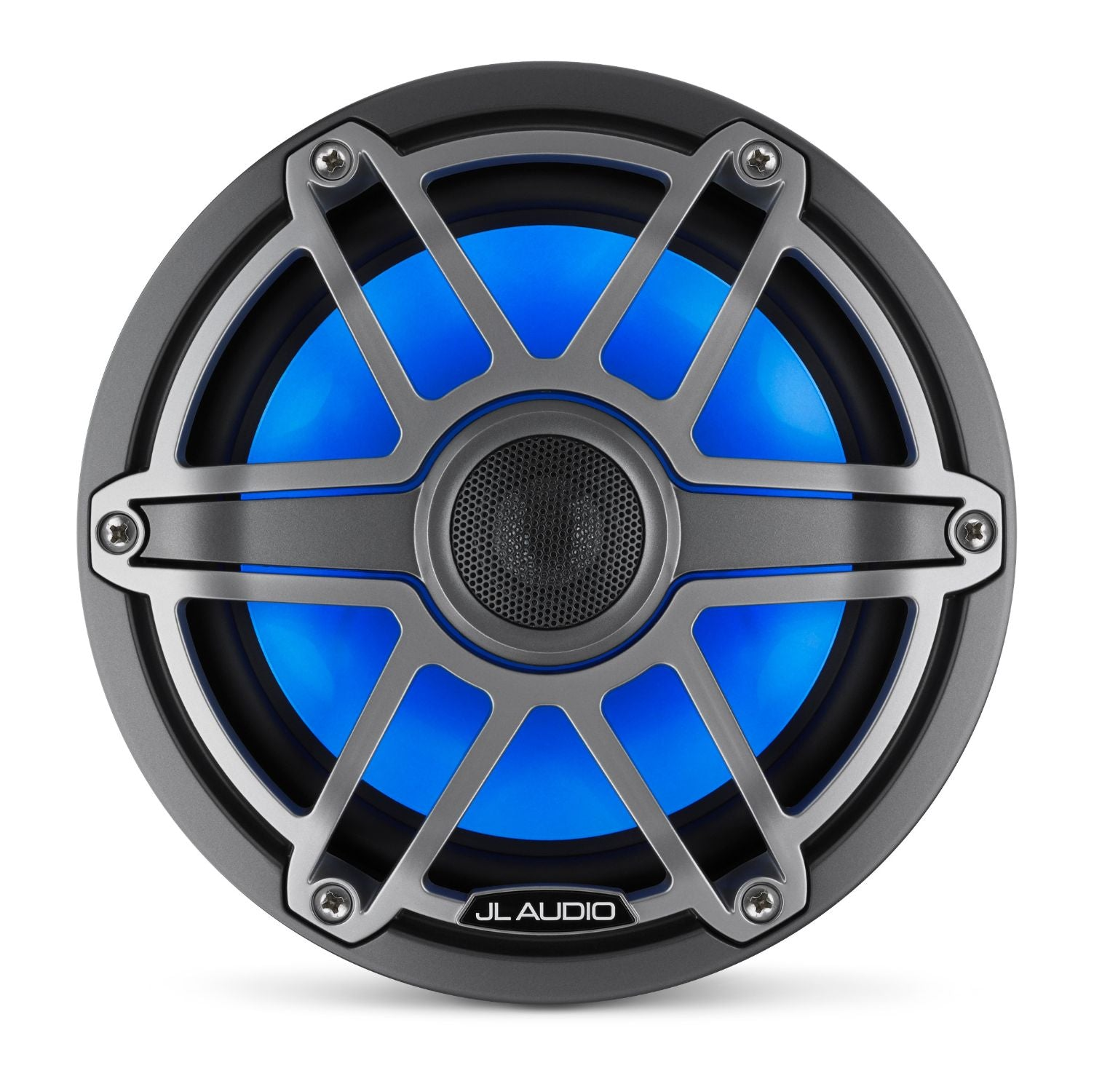 Front Overhead of M6-770X-S-GmTi-i Coaxial Speaker Lit with Blue