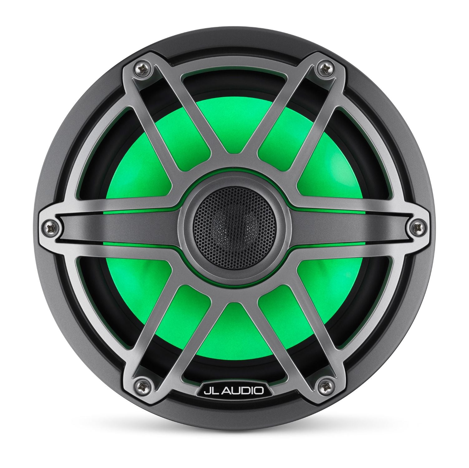 Front Overhead of M6-770X-S-GmTi-i Coaxial Speaker Lit with Green