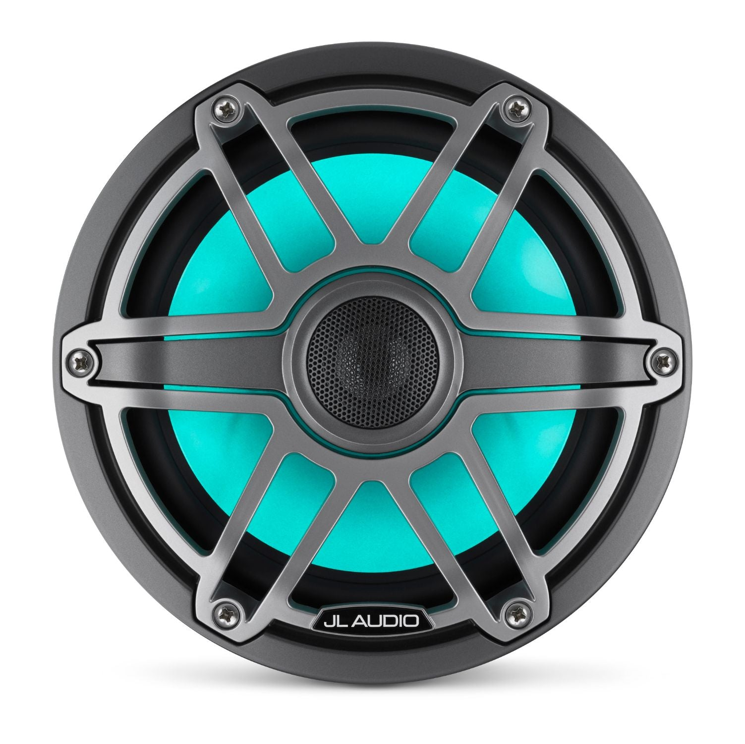 Front of M6-770X-S-GmTi-i Coaxial Speaker Overhead Lit with Teal