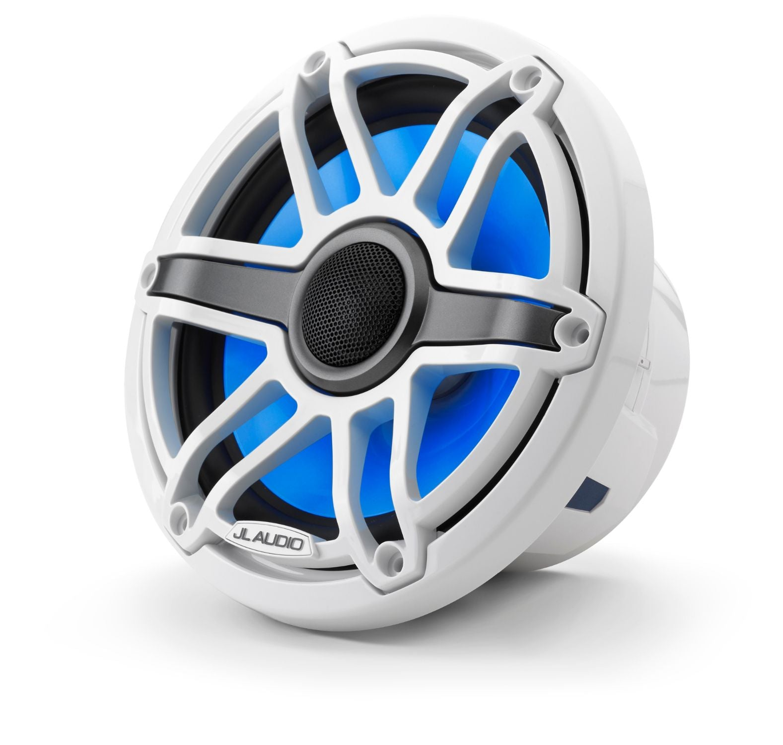 Front of M6-770X-S-GwGw-i Coaxial Speaker Facing Left Lit with Blue