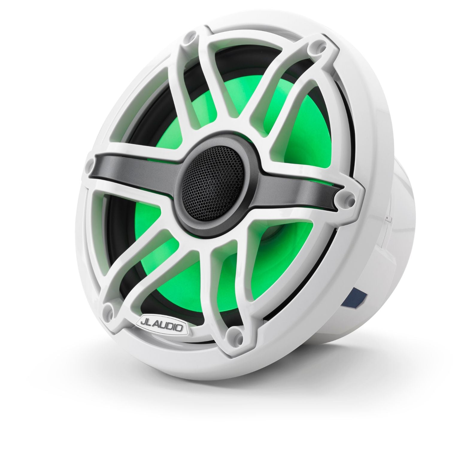 Front of M6-770X-S-GwGw-i Coaxial Speaker Facing Left Lit with Green
