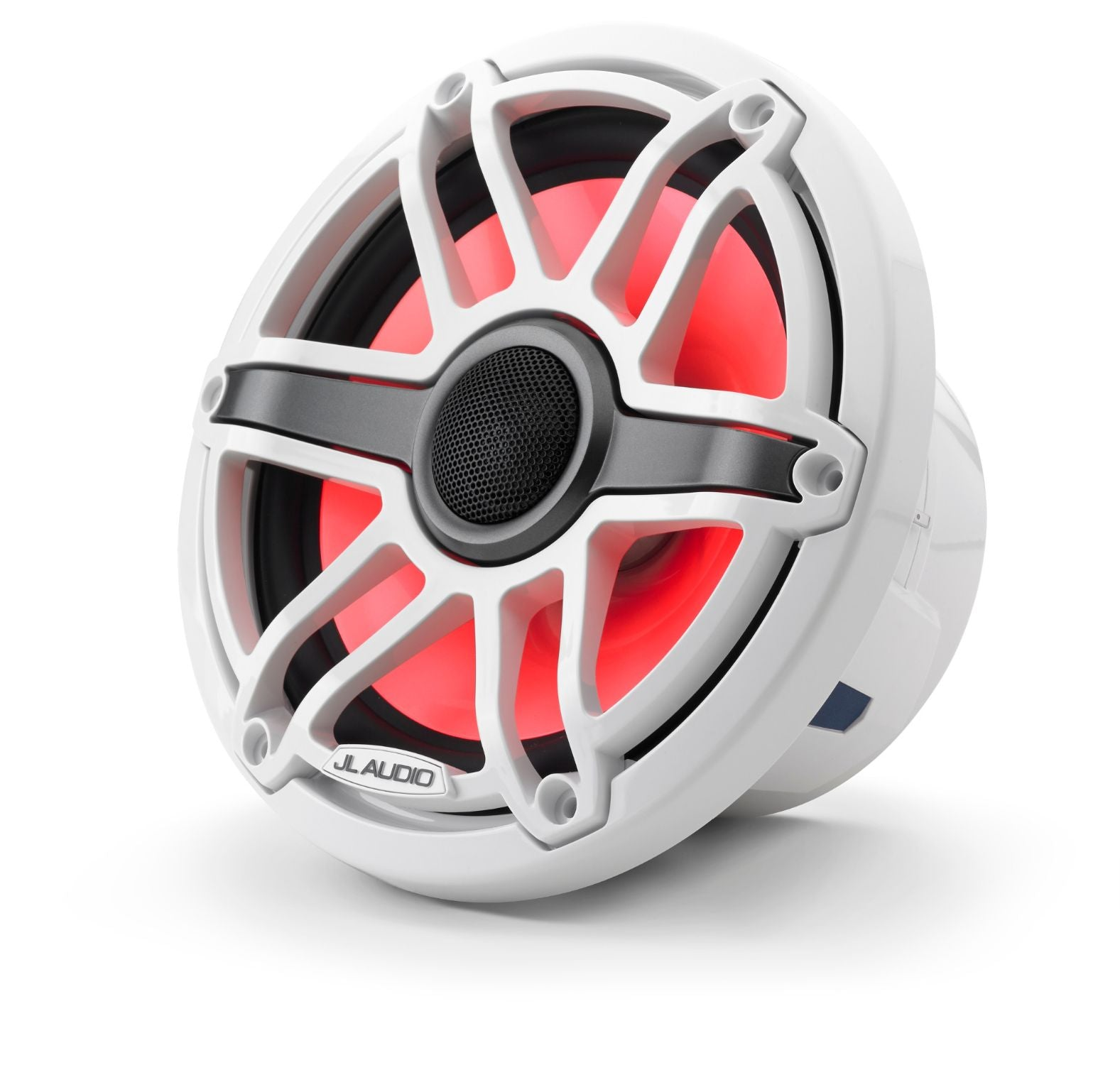 Front of M6-770X-S-GwGw-i Coaxial Speaker Facing Left Lit with Red