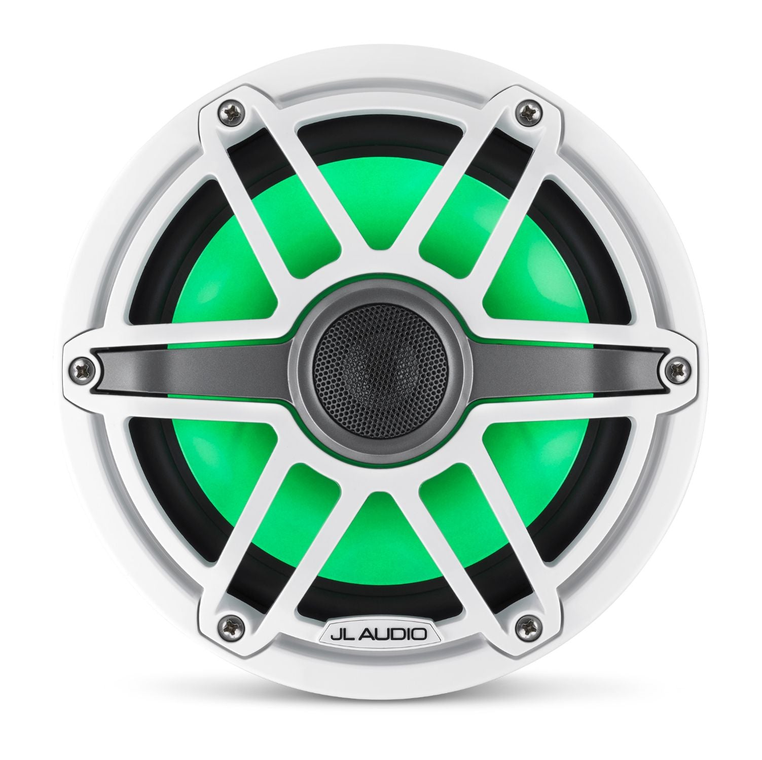 Front Overhead of M6-770X-S-GwGw-i Coaxial Speaker Lit with Green