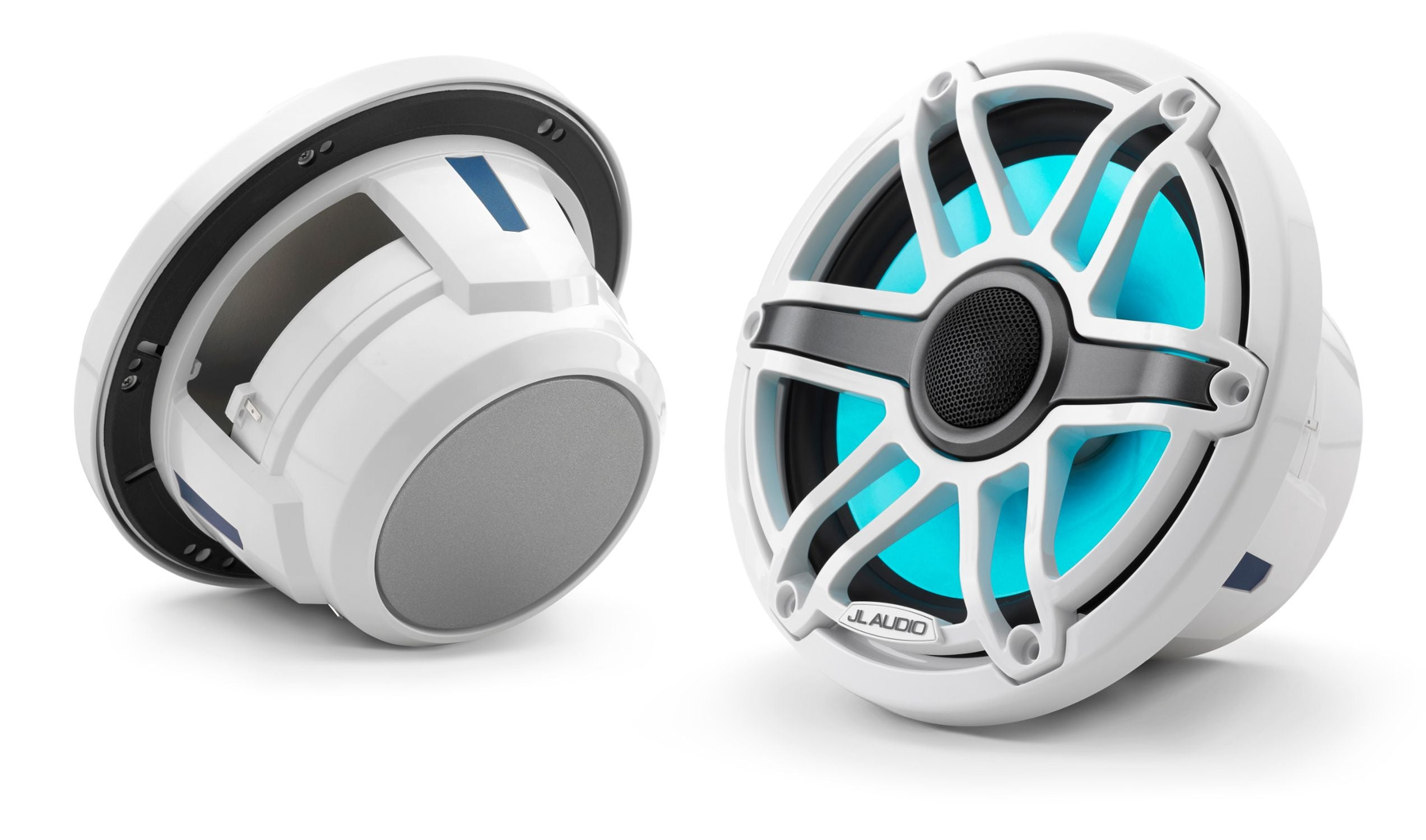 Pair of M6-770X-S-GwGw-i Coaxial Speaker Lit with Aqua