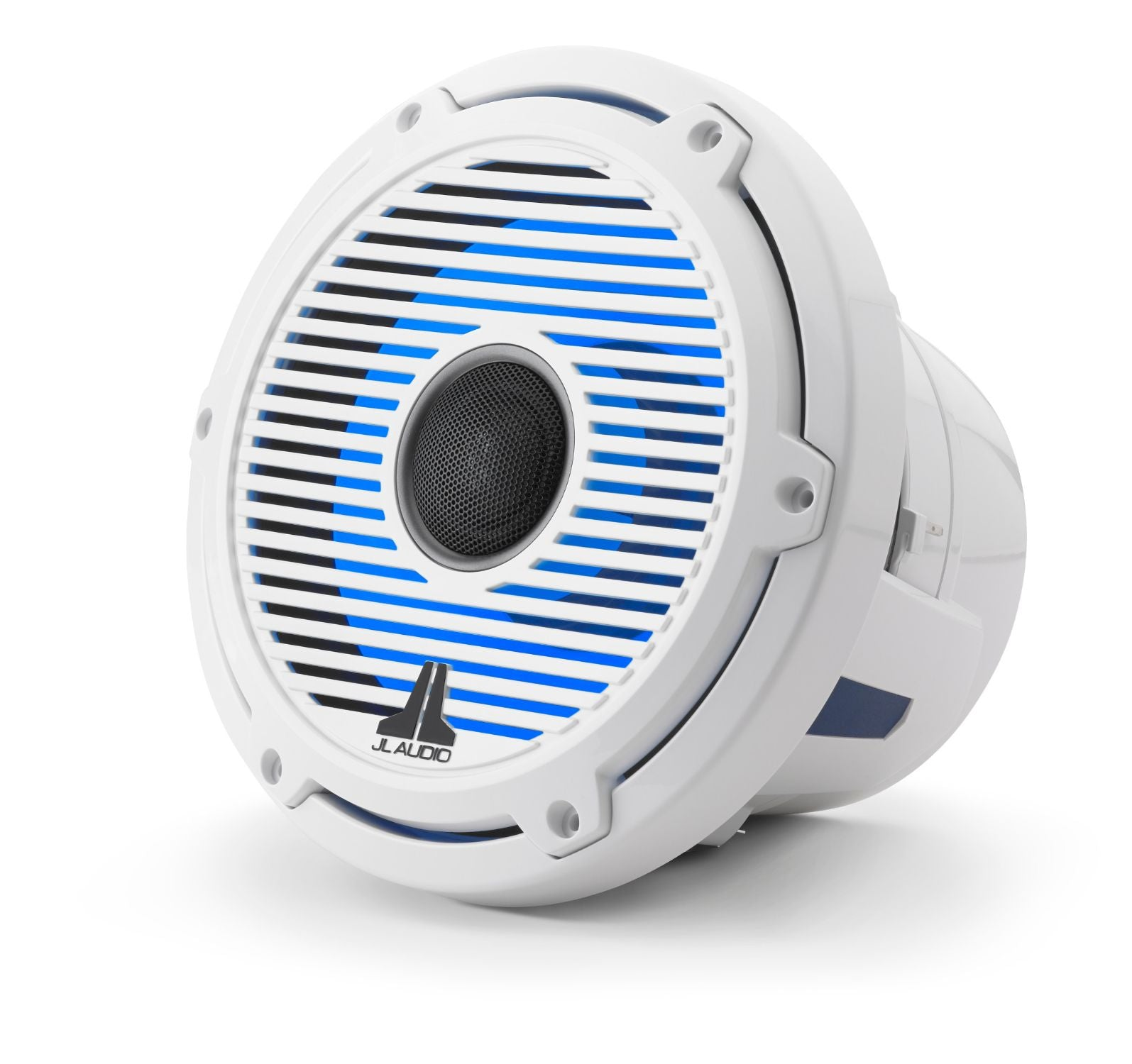 Front of M6-880X-C-GwGw-i Coaxial Speaker Facing Left Lit with Blue