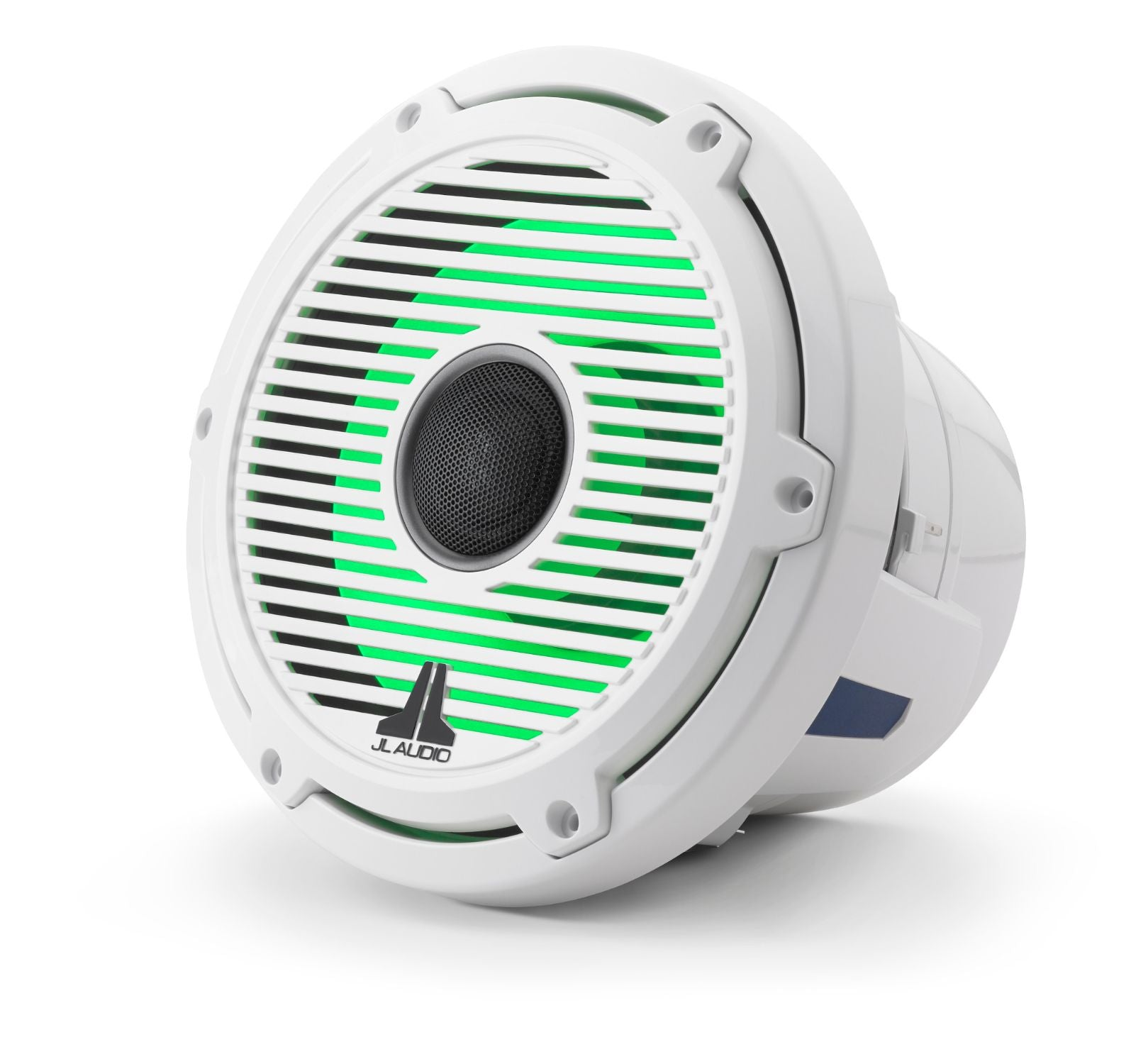 Front of M6-880X-C-GwGw-i Coaxial Speaker Facing Left Lit with Green