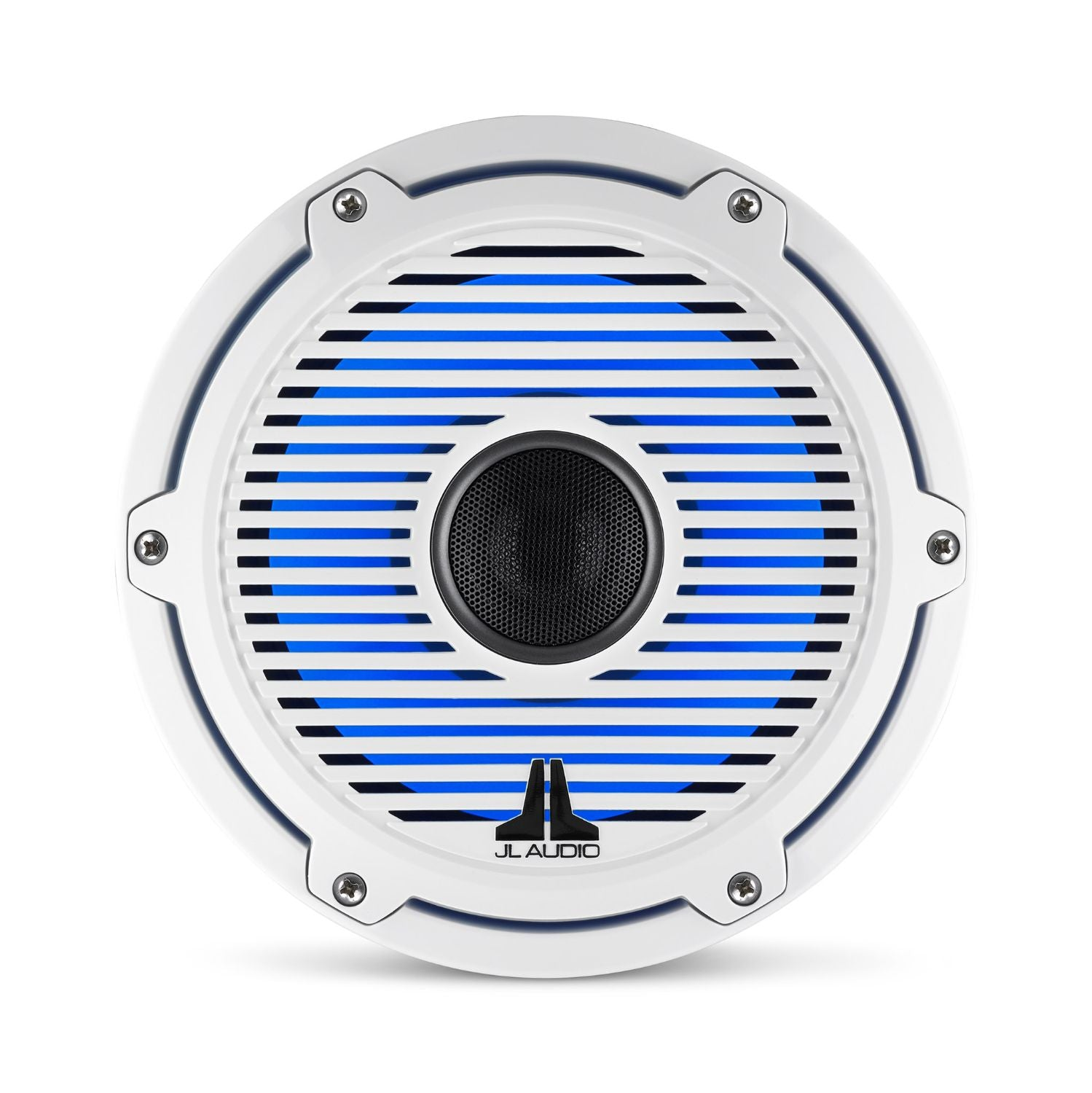 Front Overhead of M6-880X-C-GwGw-i Coaxial Speaker Lit with Blue