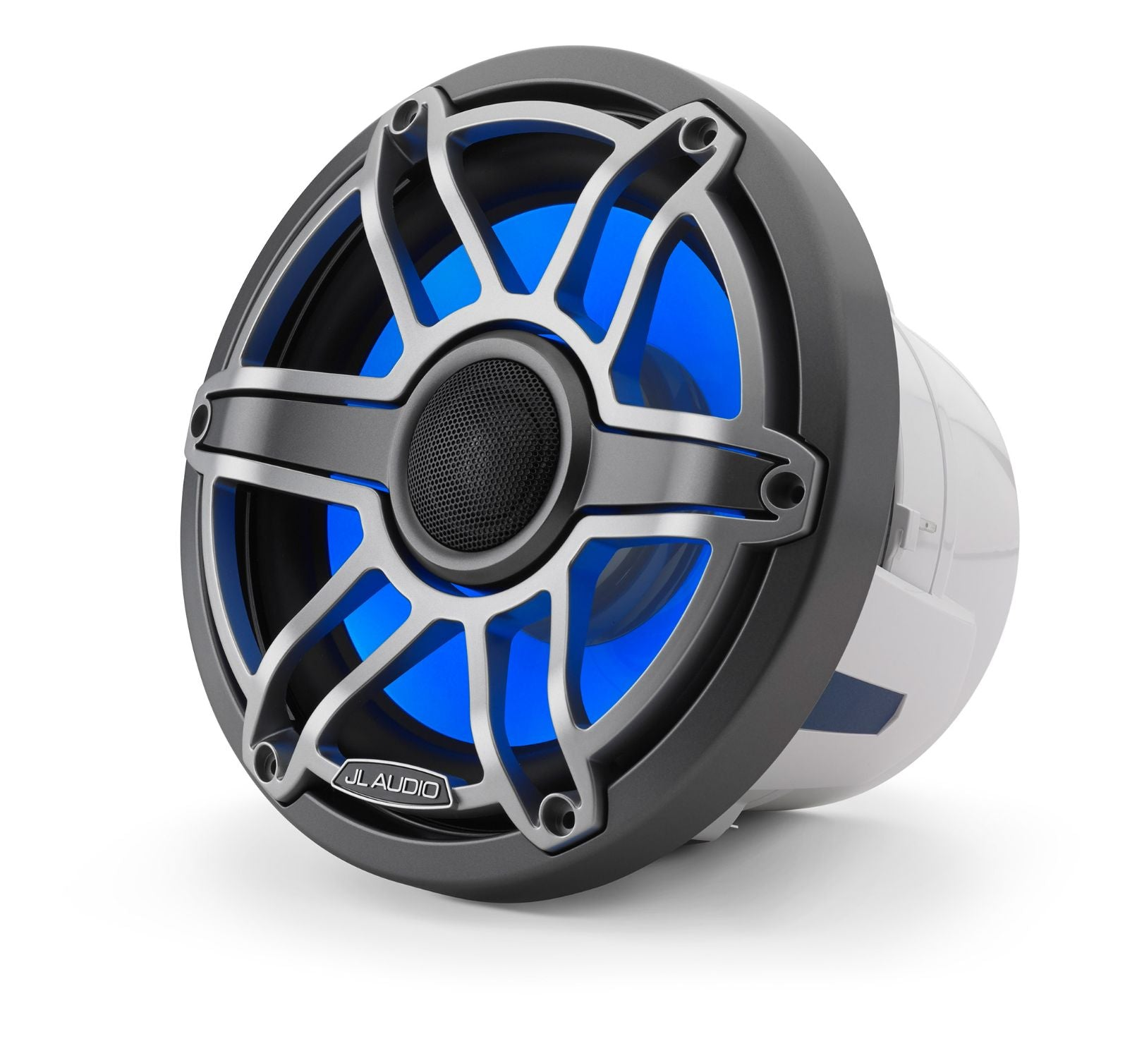 Front of M6-880X-S-GmTi-i Coaxial Speaker Facing Left Lit with Blue