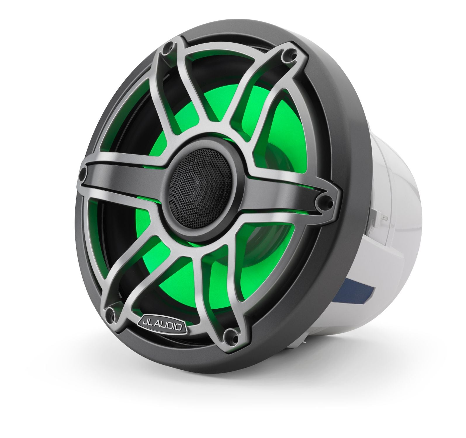 Front of M6-880X-S-GmTi-i Coaxial Speaker Facing Left Lit with Green