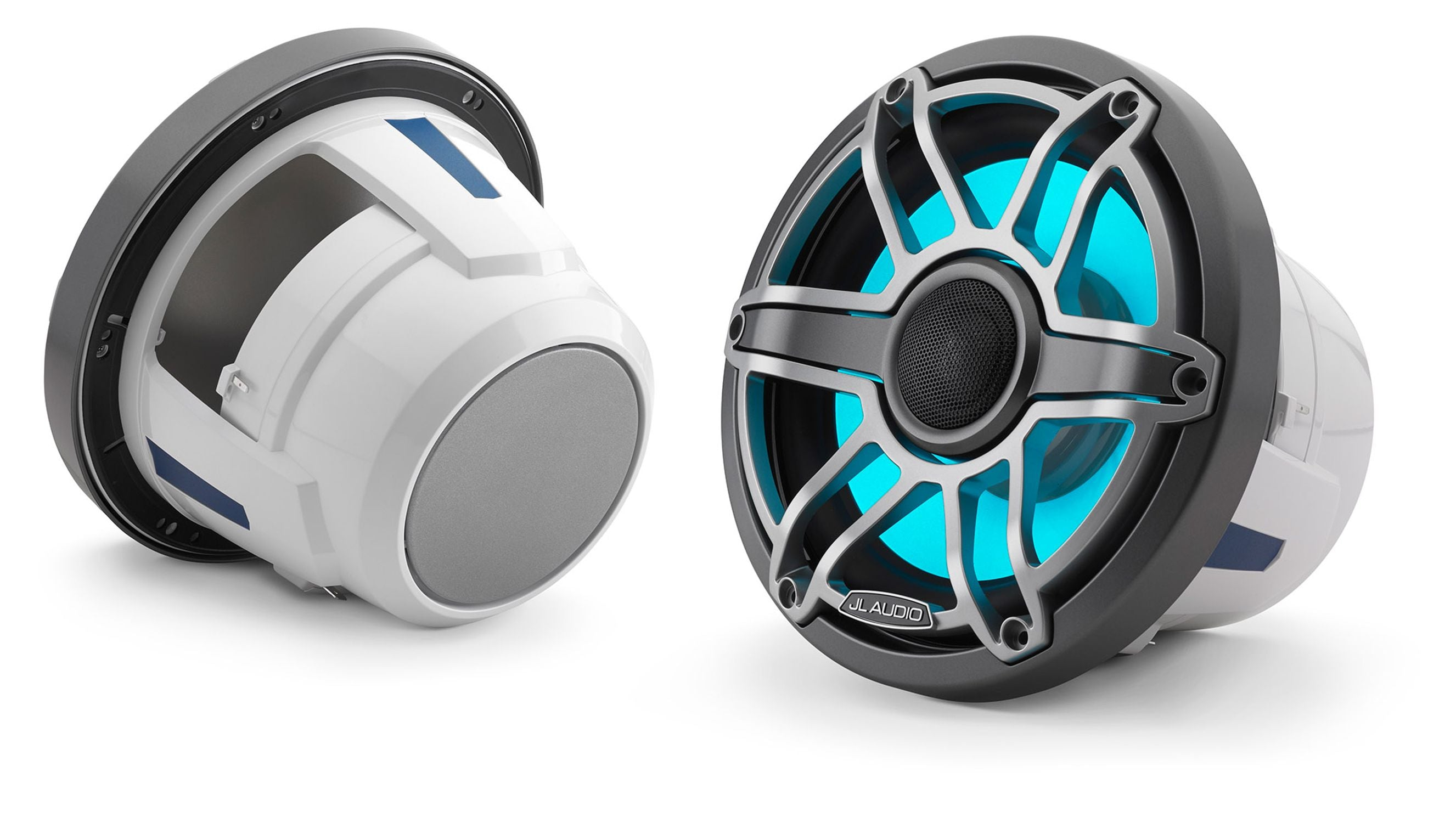 Pair of M6-880X-S-GmTi-i Coaxial Speaker Lit with Aqua
