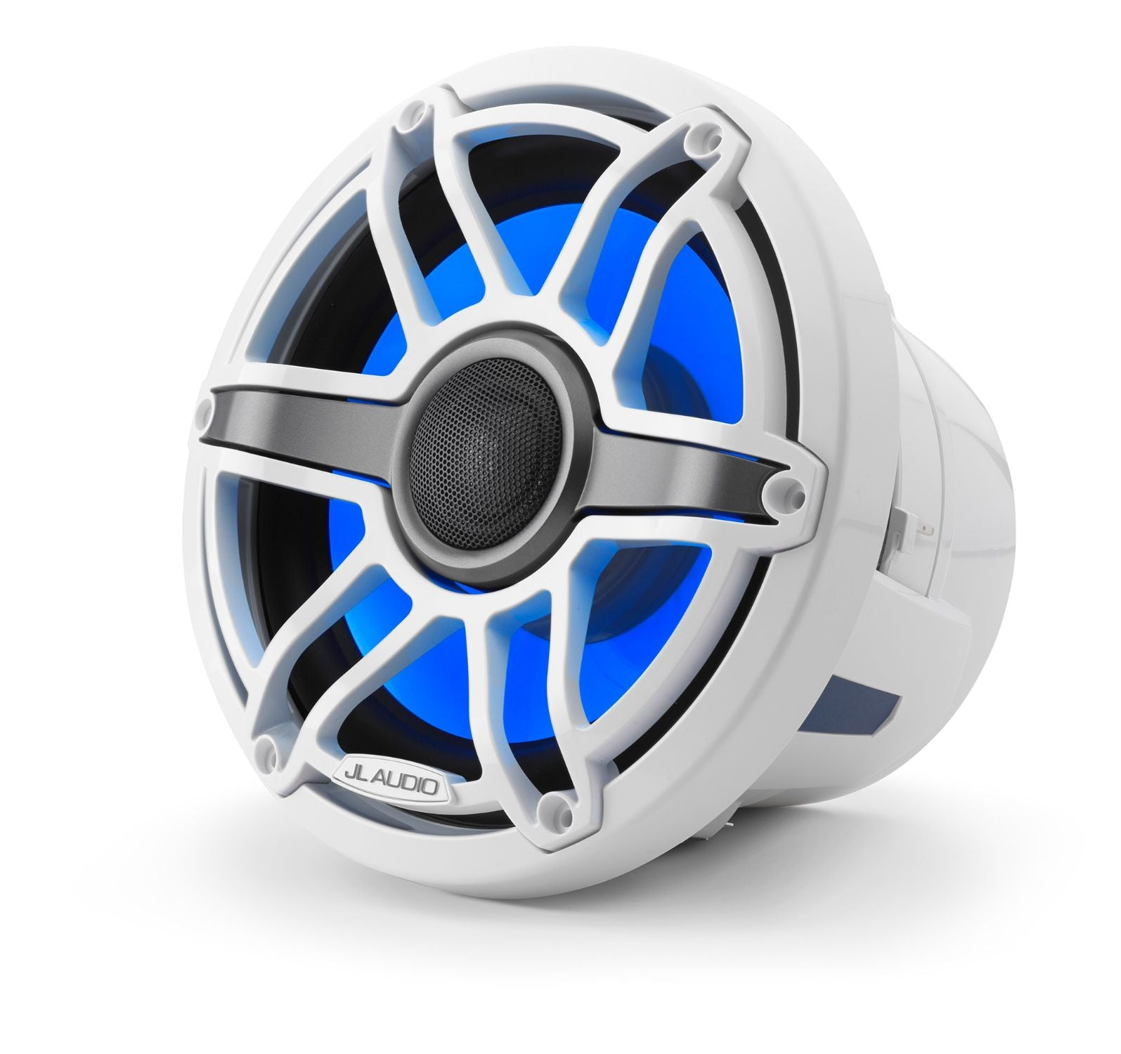 Front of M6-880X-S-GwGw-i Coaxial Speaker Facing Left Lit with Blue