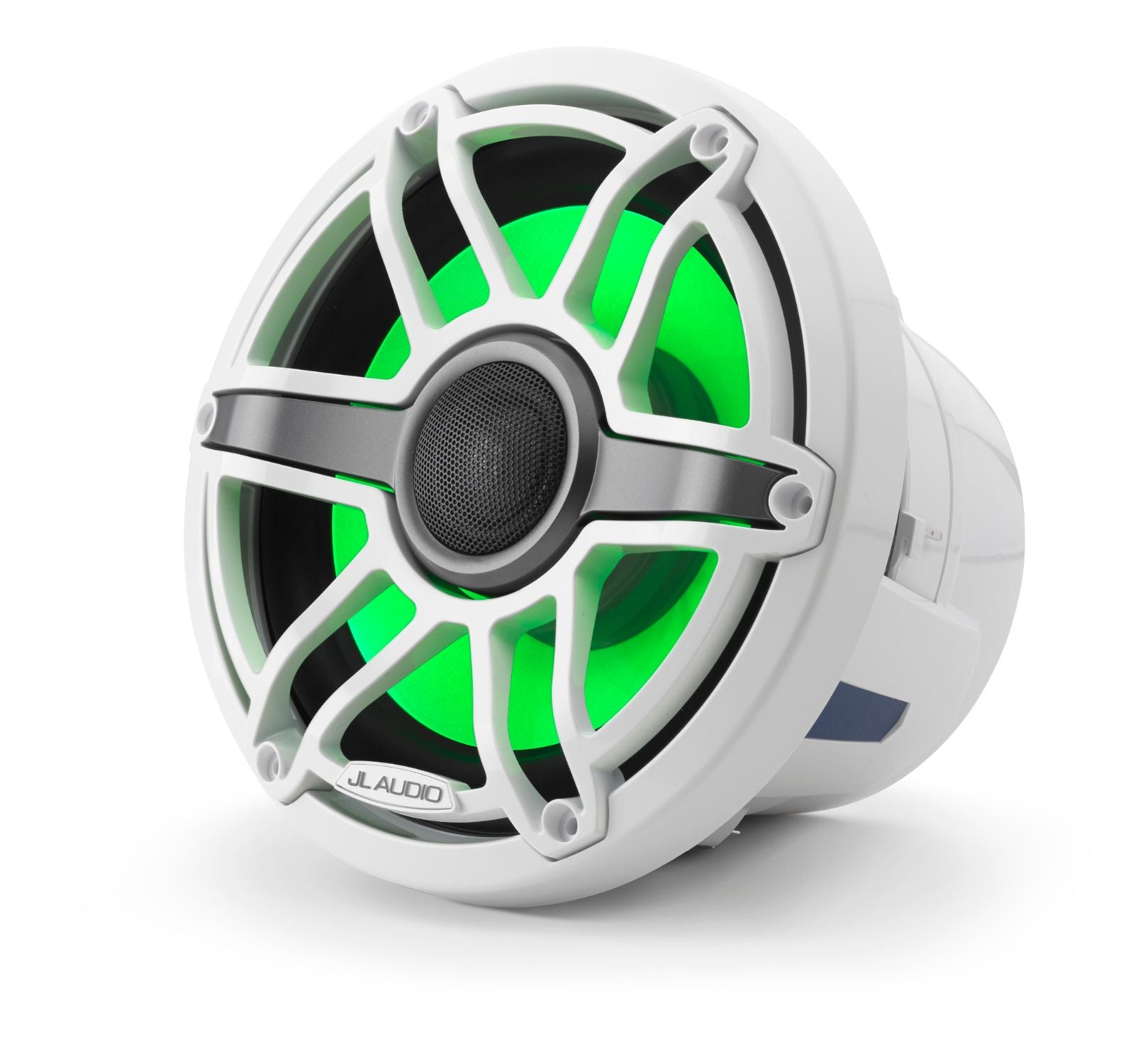 Front of M6-880X-S-GwGw-i Coaxial Speaker Facing Left Lit with Green