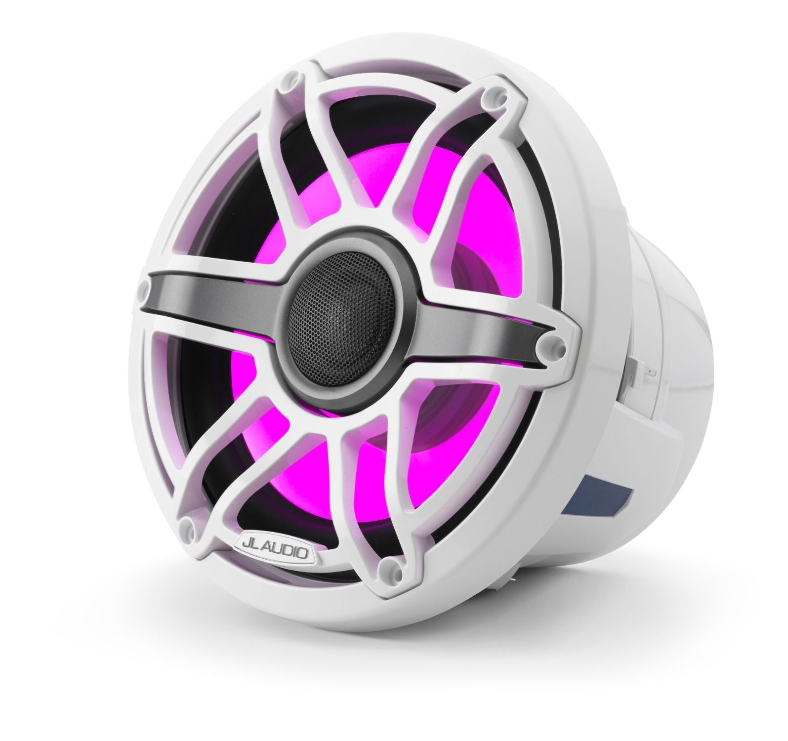 Front Overhead of M6-880X-S-GwGw-i Coaxial Speaker Lit with Pink