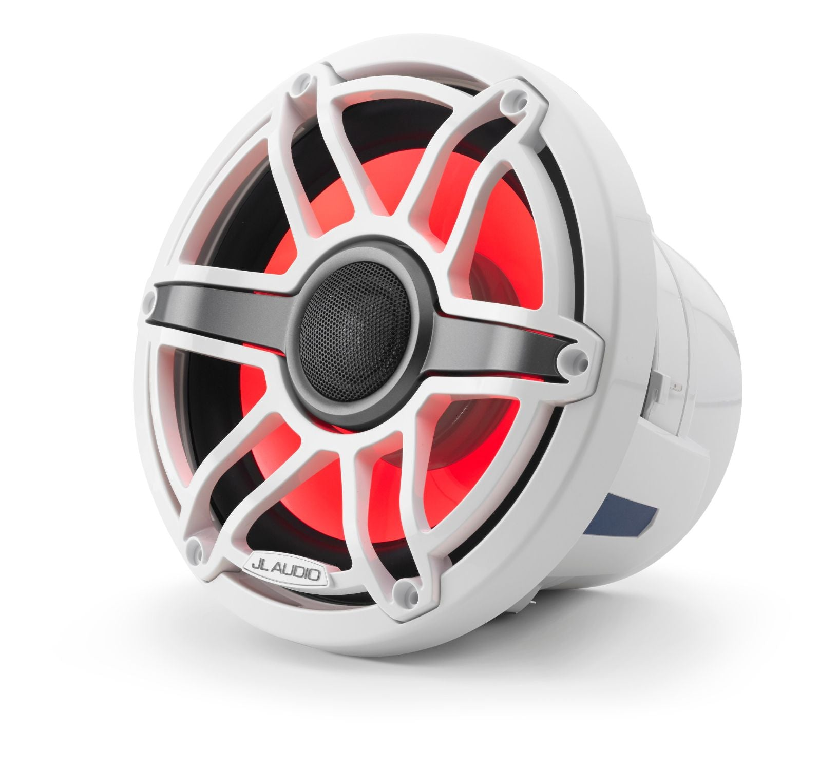 Front of M6-880X-S-GwGw-i Coaxial Speaker Facing Left Lit with Red