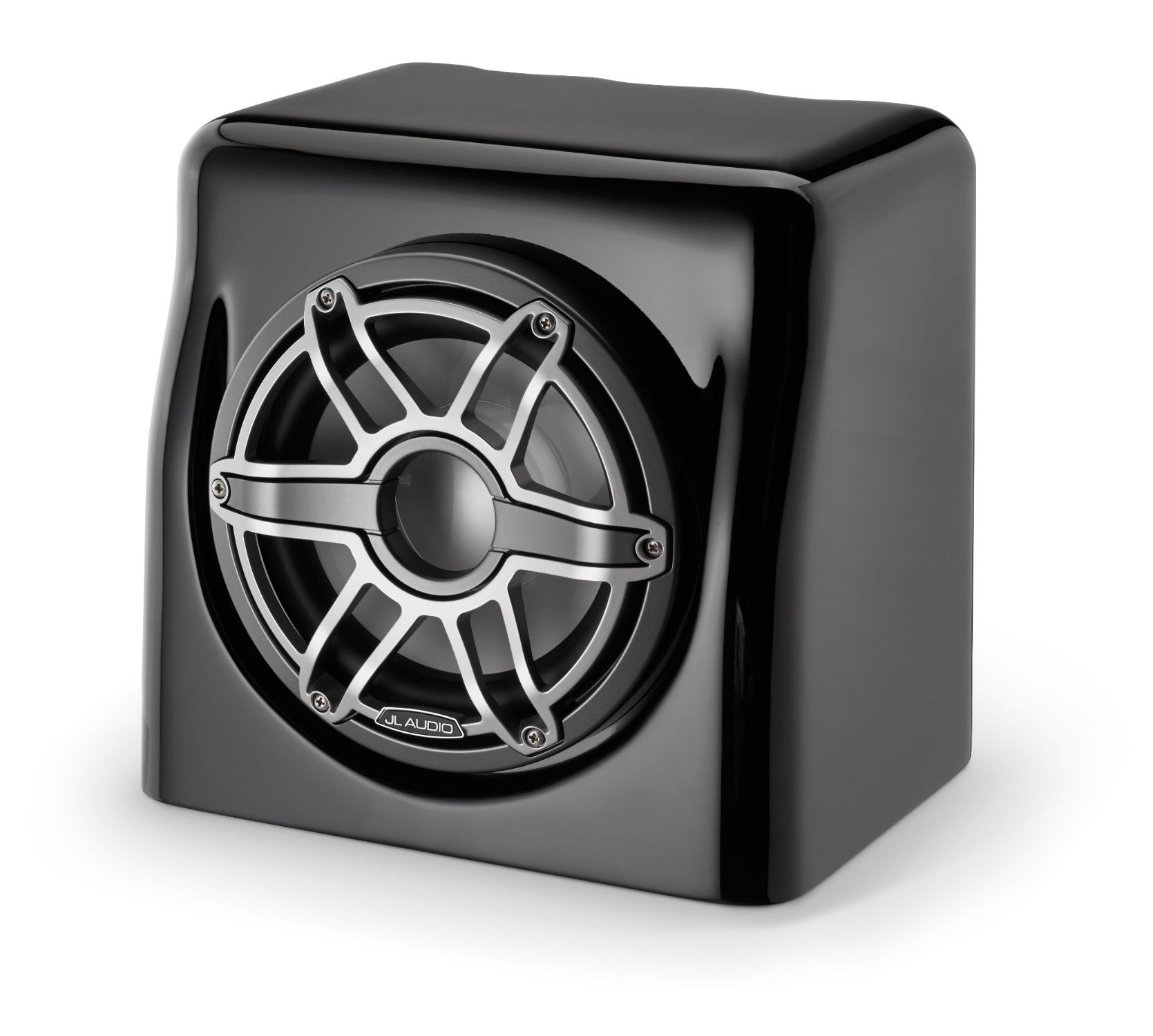 Front of M6-8FES-Gb-S-GmTi-4 Enclosed Subwoofer Facing Left