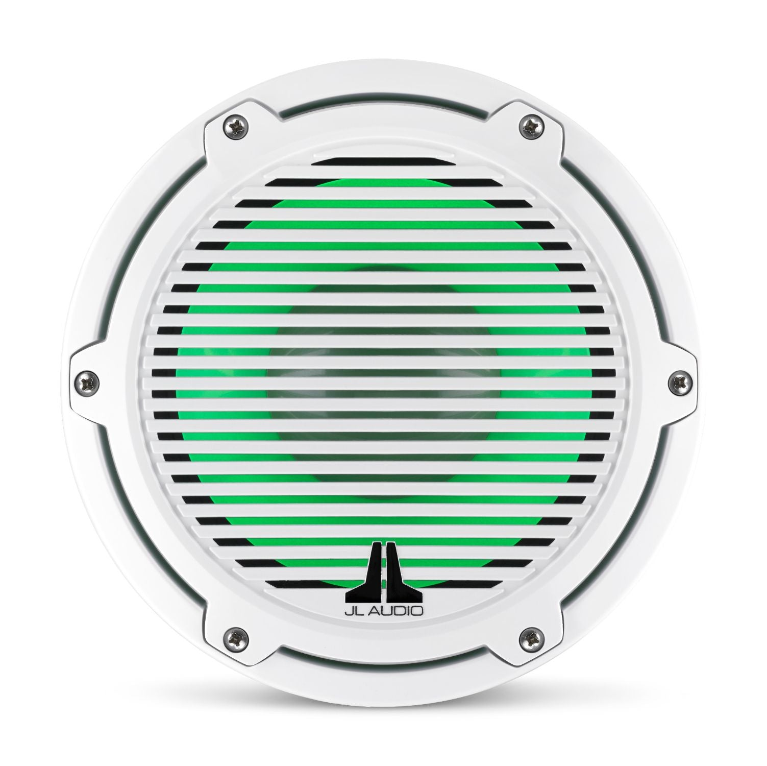 Front Overhead of M6-8IB-C-GwGw-i Subwoofer Lit with Green