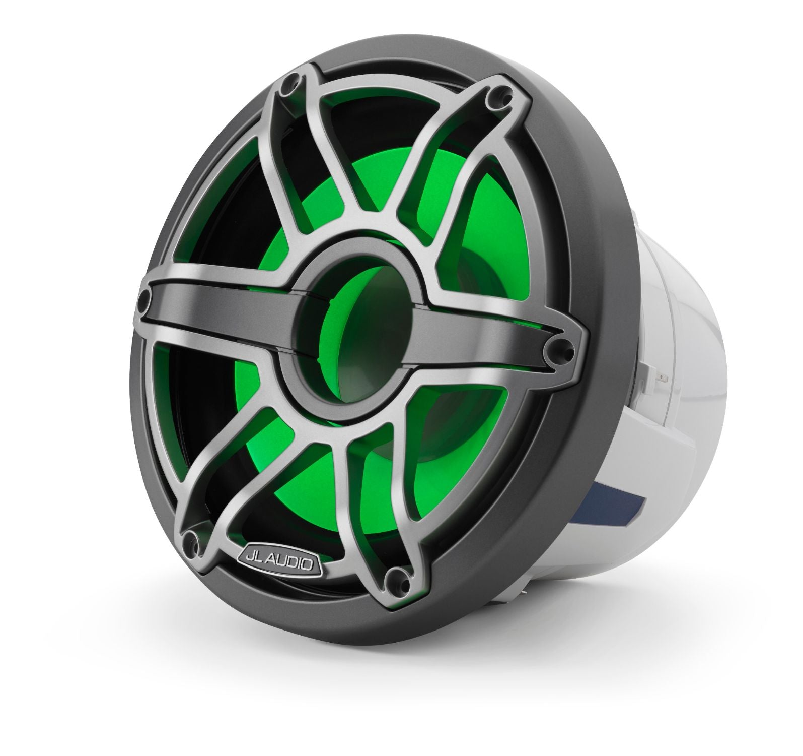Front of M6-8IB-S-GmTi-i-4 Subwoofer Facing Left Lit with Green