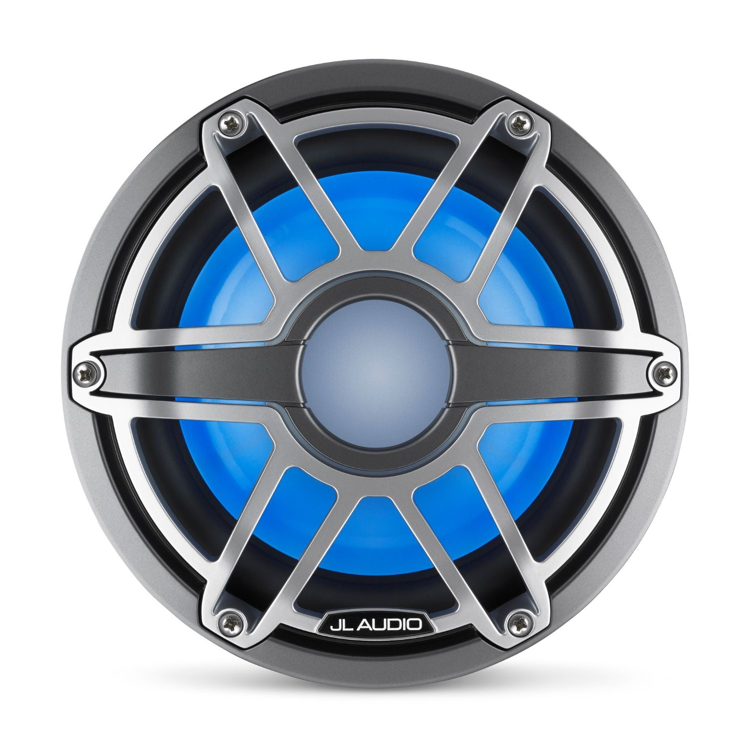 Front Overhead of M6-8IB-S-GmTi-i Subwoofer Lit with Blue