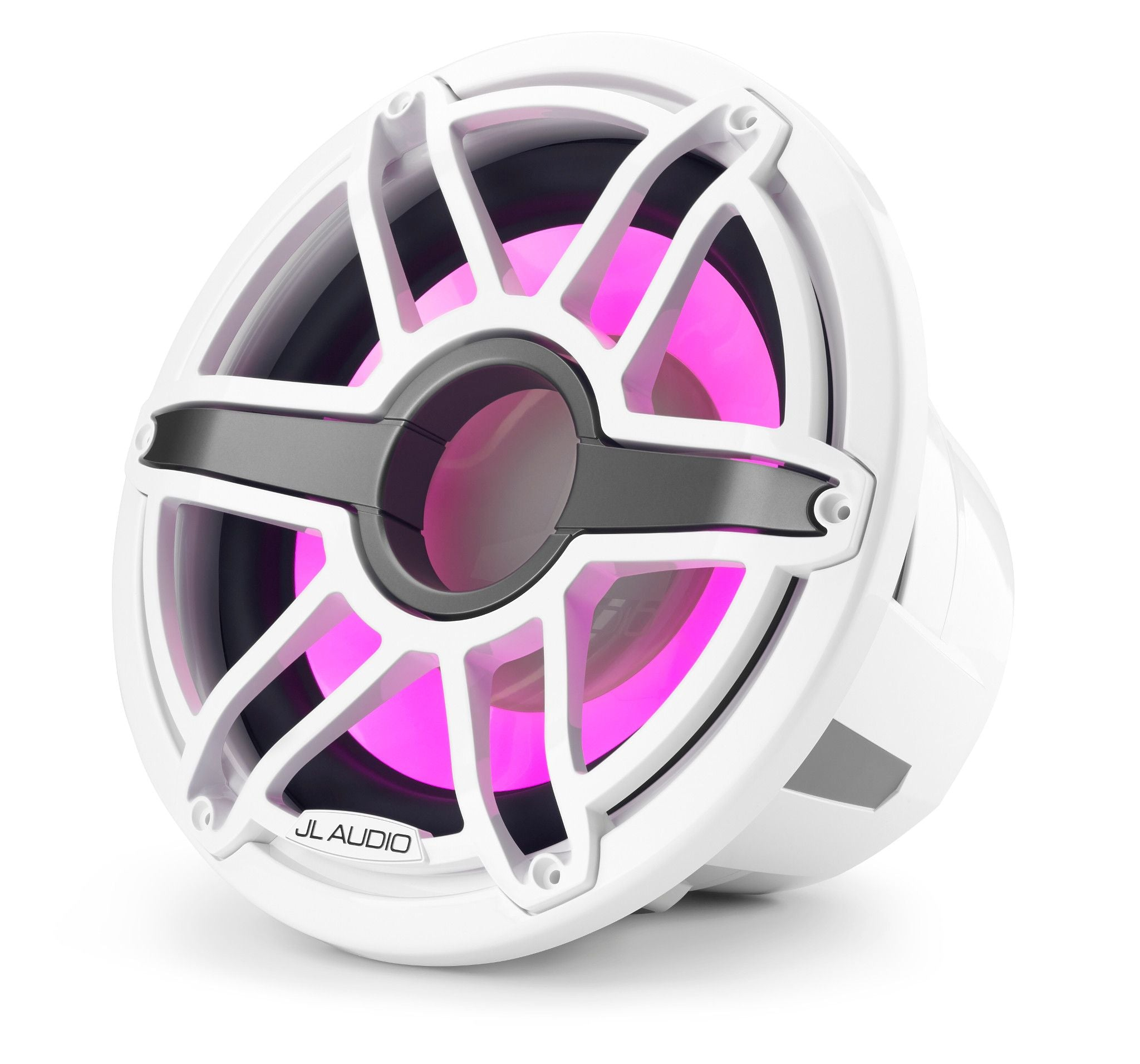 Front of M7-12IB-S-GwGw-i-4 Marine Subwoofer Facing Left lit in Pink