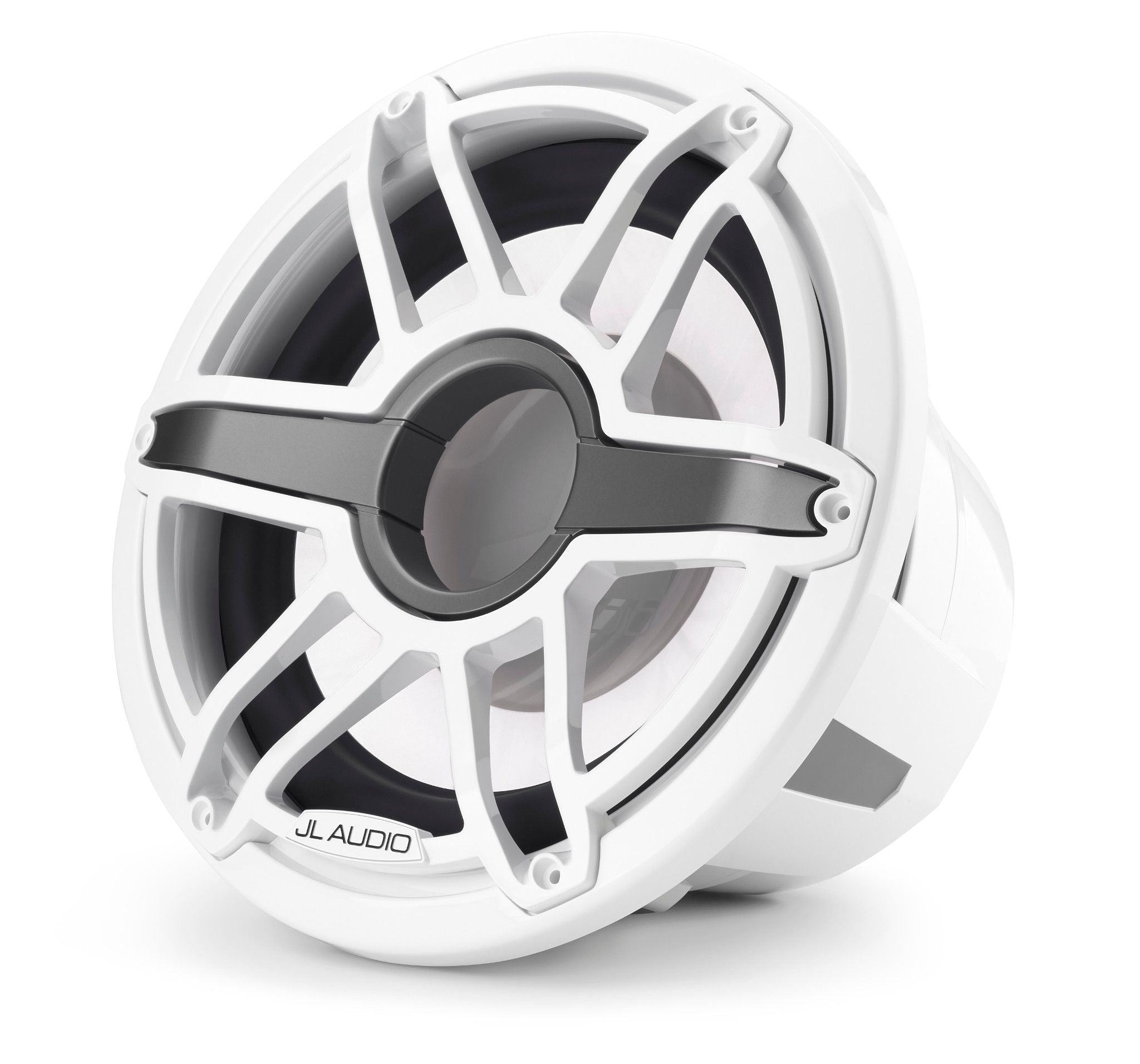 Front of M7-12IB-S-GwGw-i-4 Marine Subwoofer Facing Left Lit in White